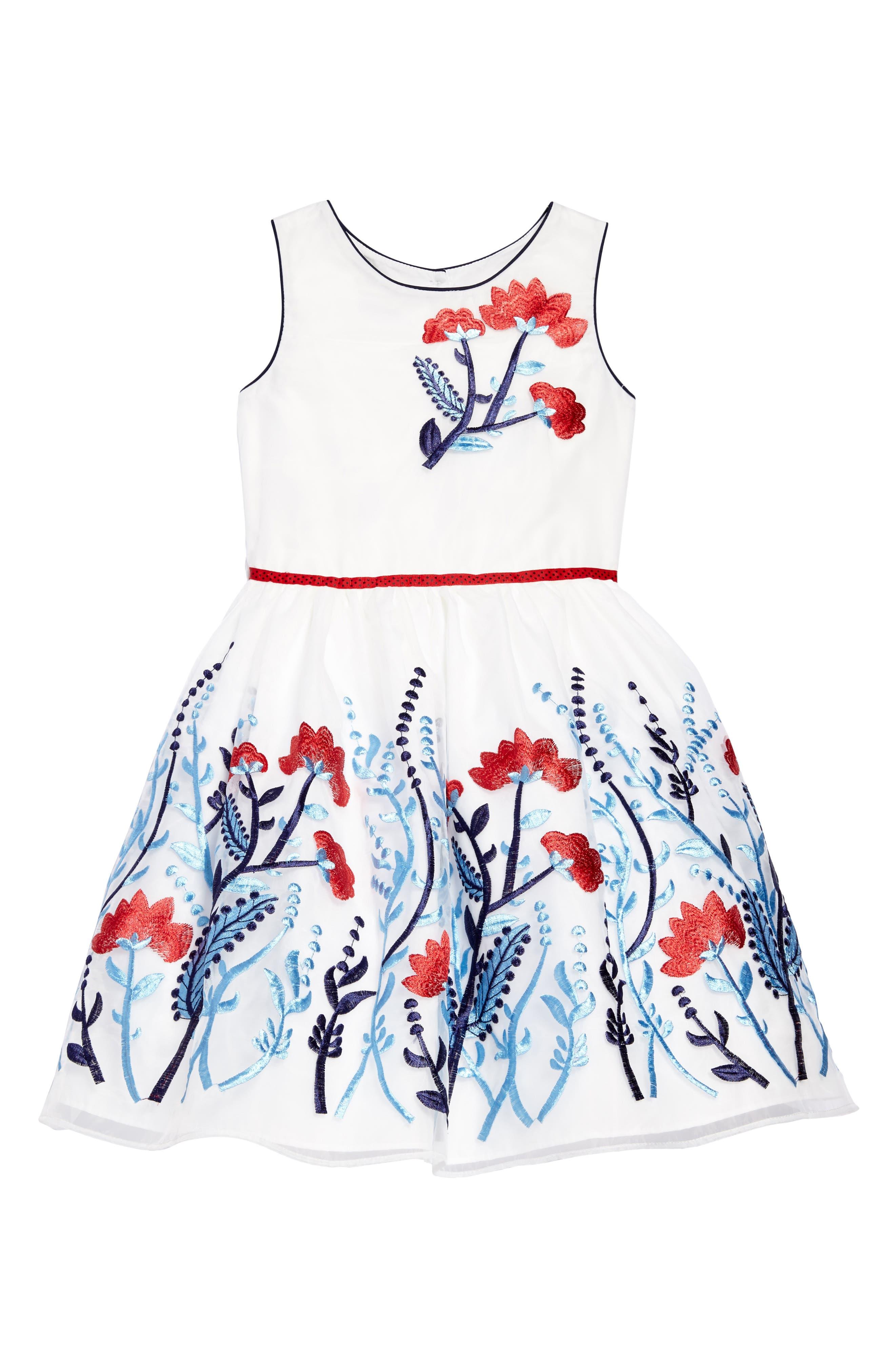 Floral Embroidered Organza Dress,                             Main thumbnail 1, color,                             100