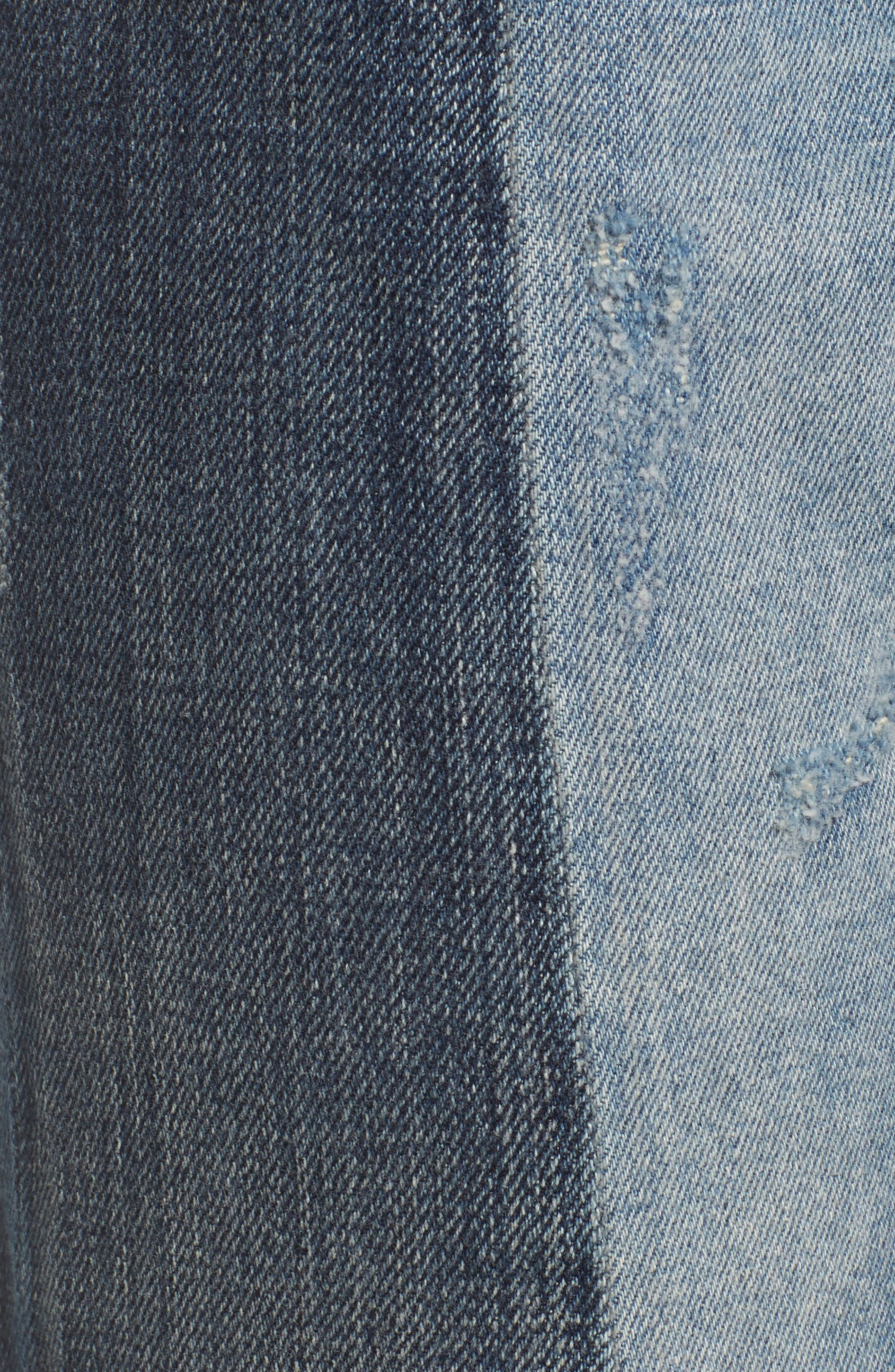 High Waist Patched Slim Jeans,                             Alternate thumbnail 5, color,                             400