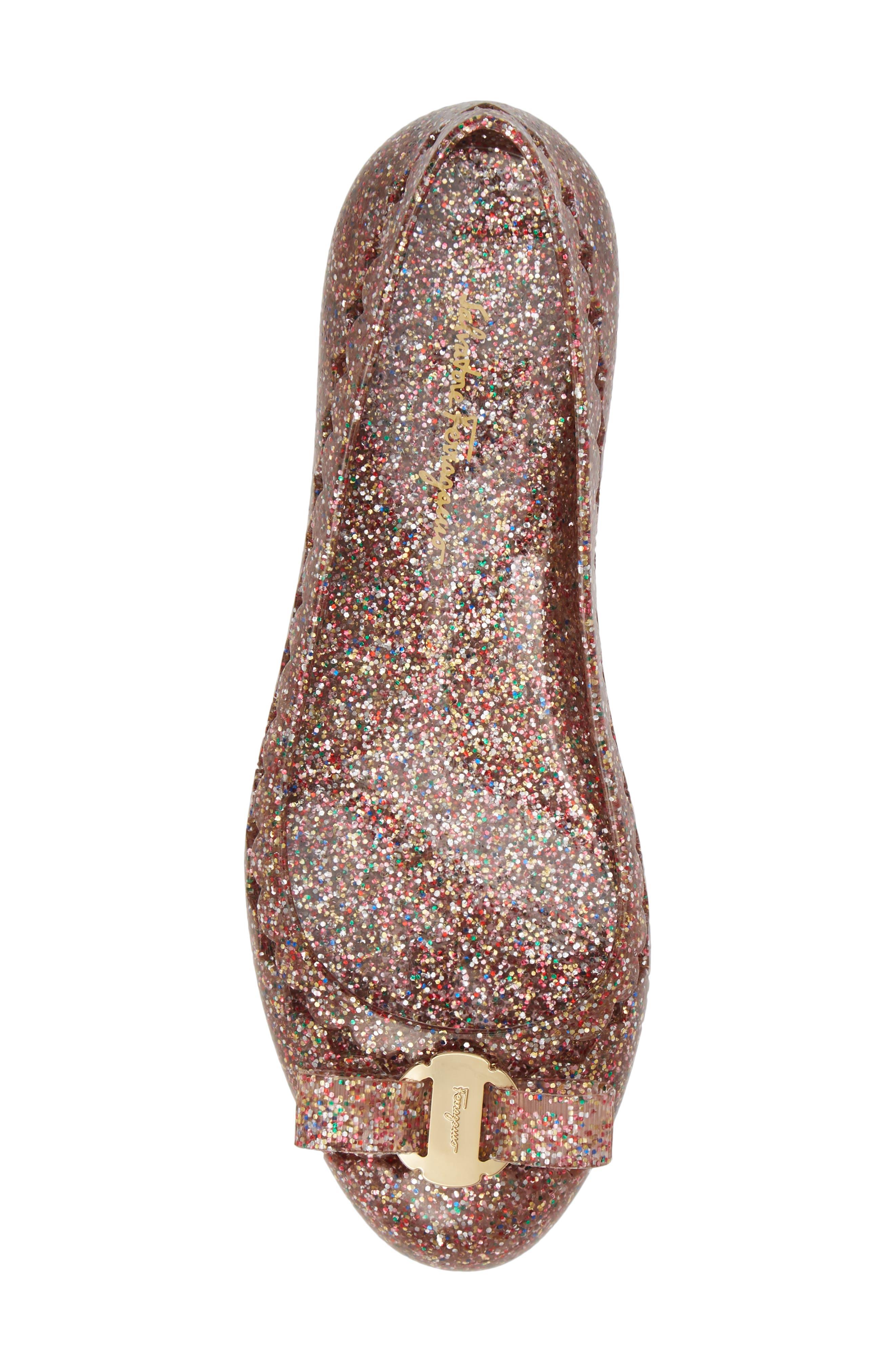 Jelly Ballerina Flat,                             Alternate thumbnail 5, color,                             MULTICOLOR GLITTER