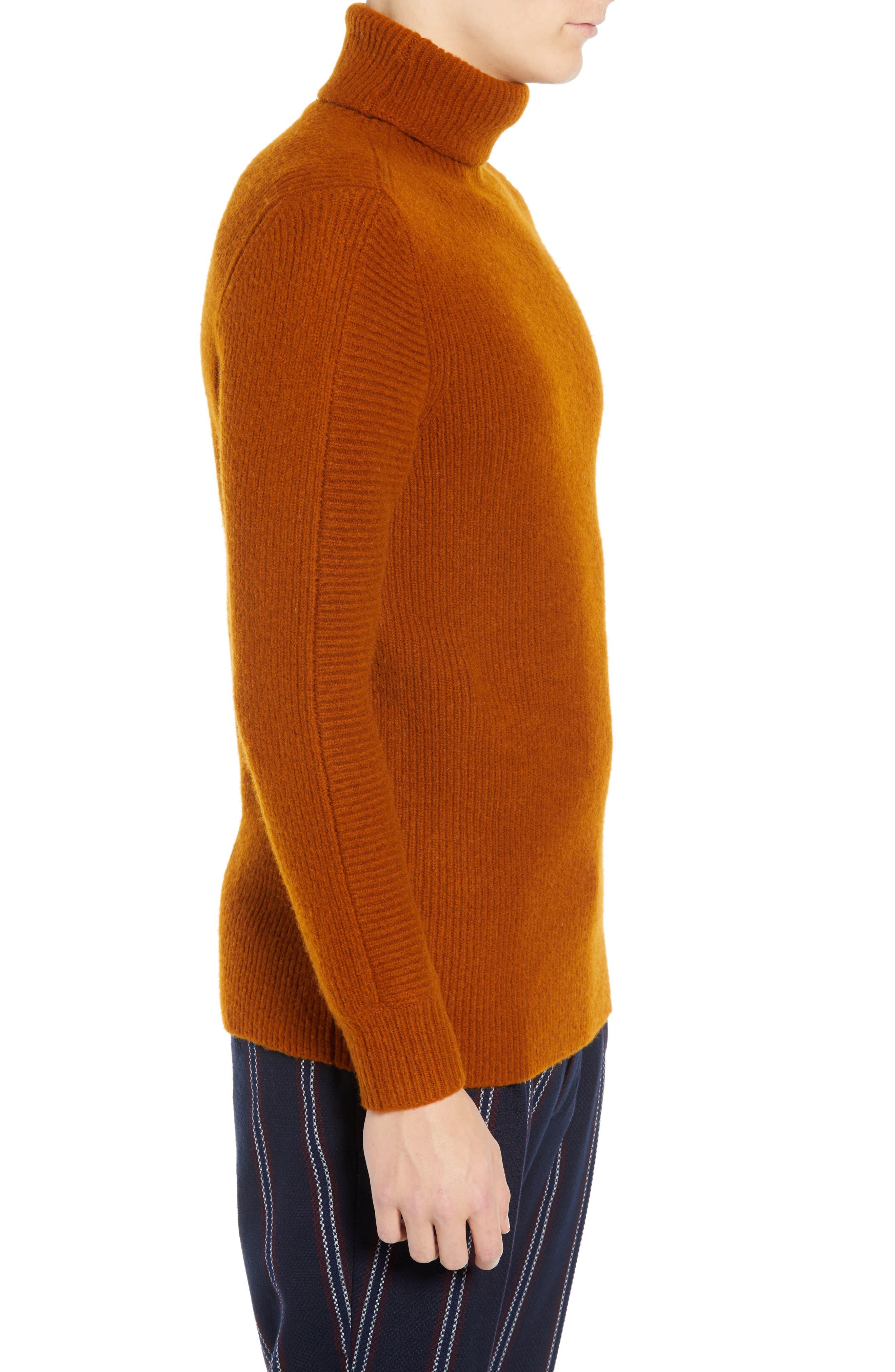 Wool Blend Turtleneck Sweater,                             Alternate thumbnail 3, color,                             RUSSET BROWN