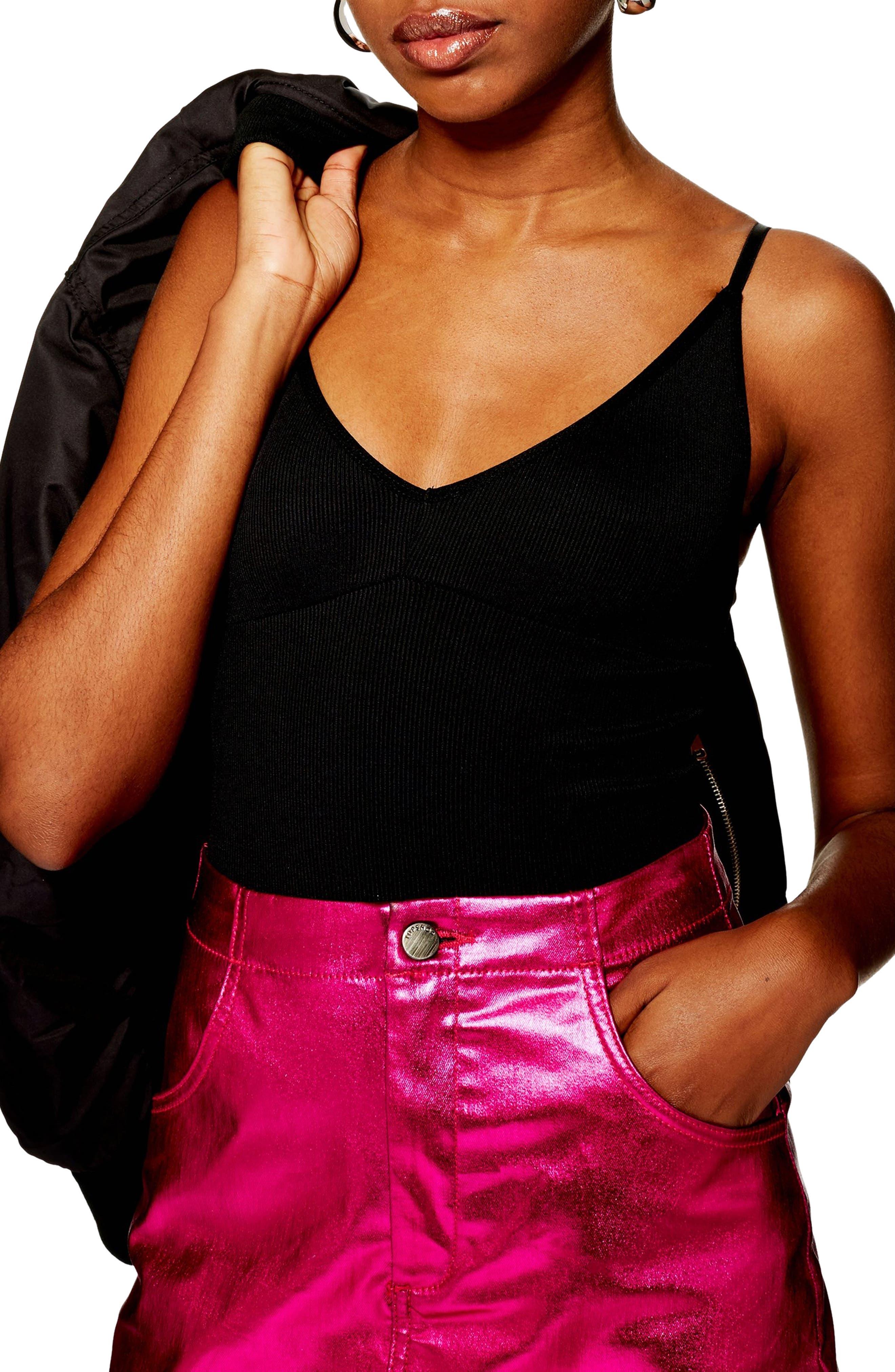 Plunge Strappy Bodysuit,                         Main,                         color, BLACK