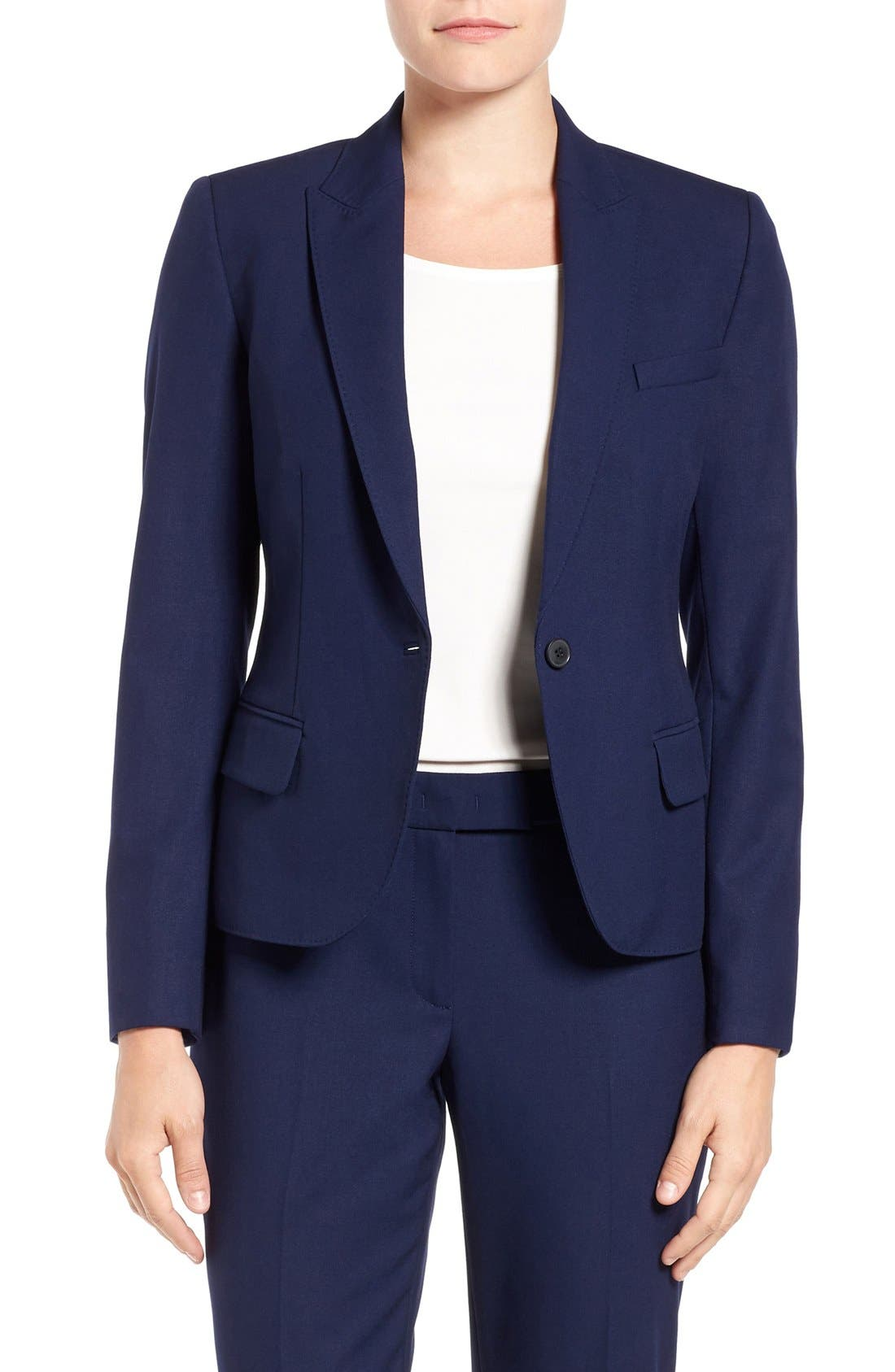 One-Button Suit Jacket,                         Main,                         color, NAVY