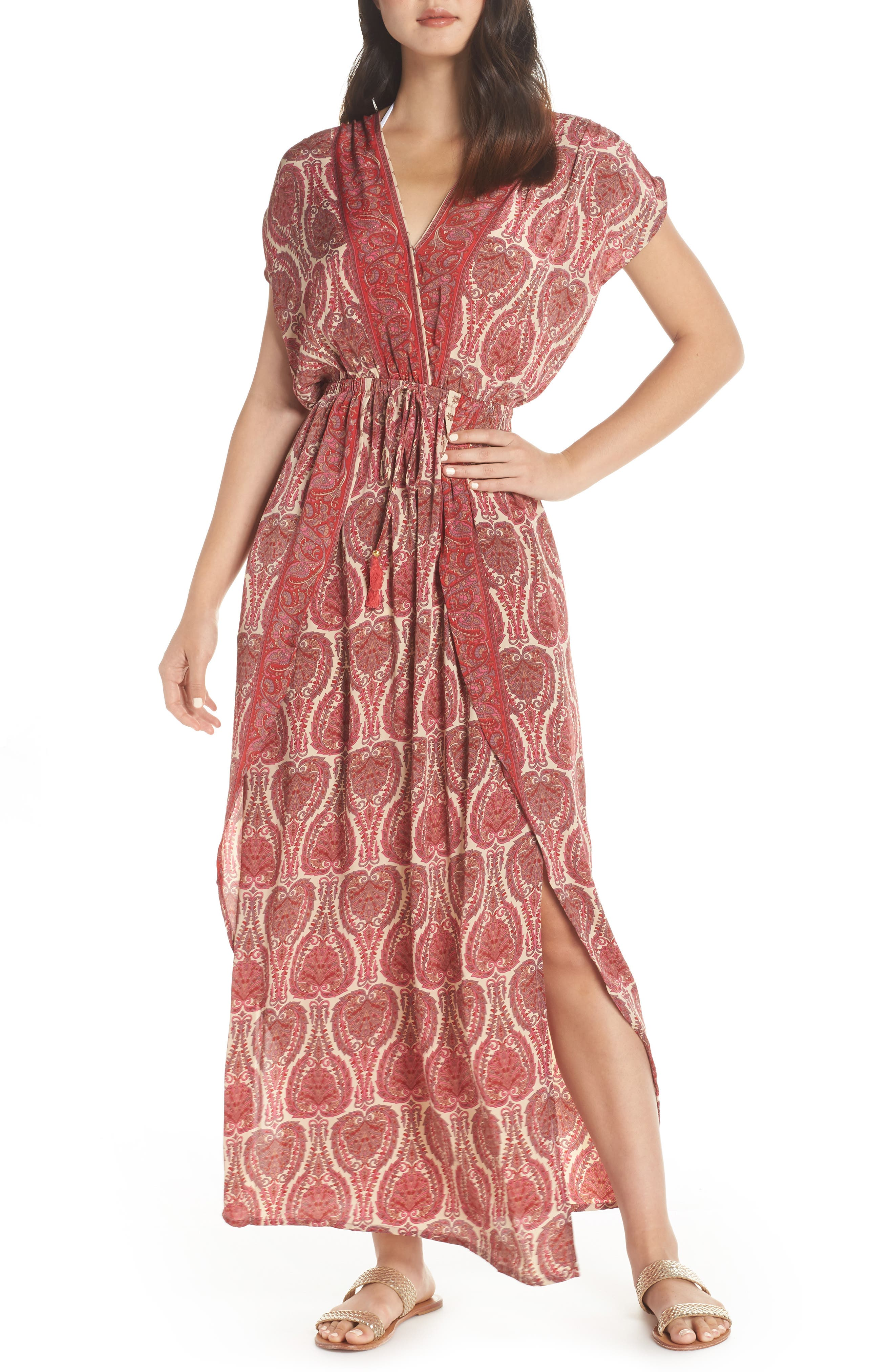 Wrap Maxi Cover-Up Dress,                             Main thumbnail 1, color,                             PAISLEY CORAL
