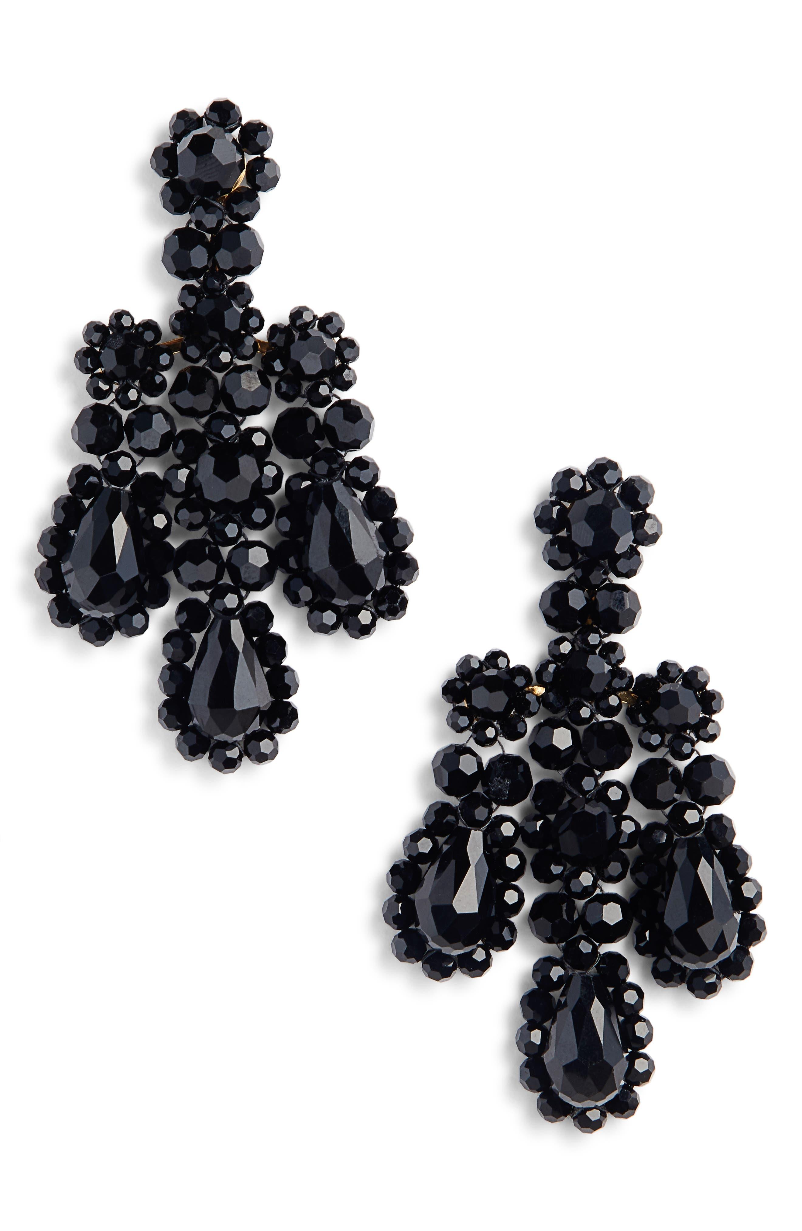 Beaded Chandelier Earrings,                             Main thumbnail 1, color,                             JET