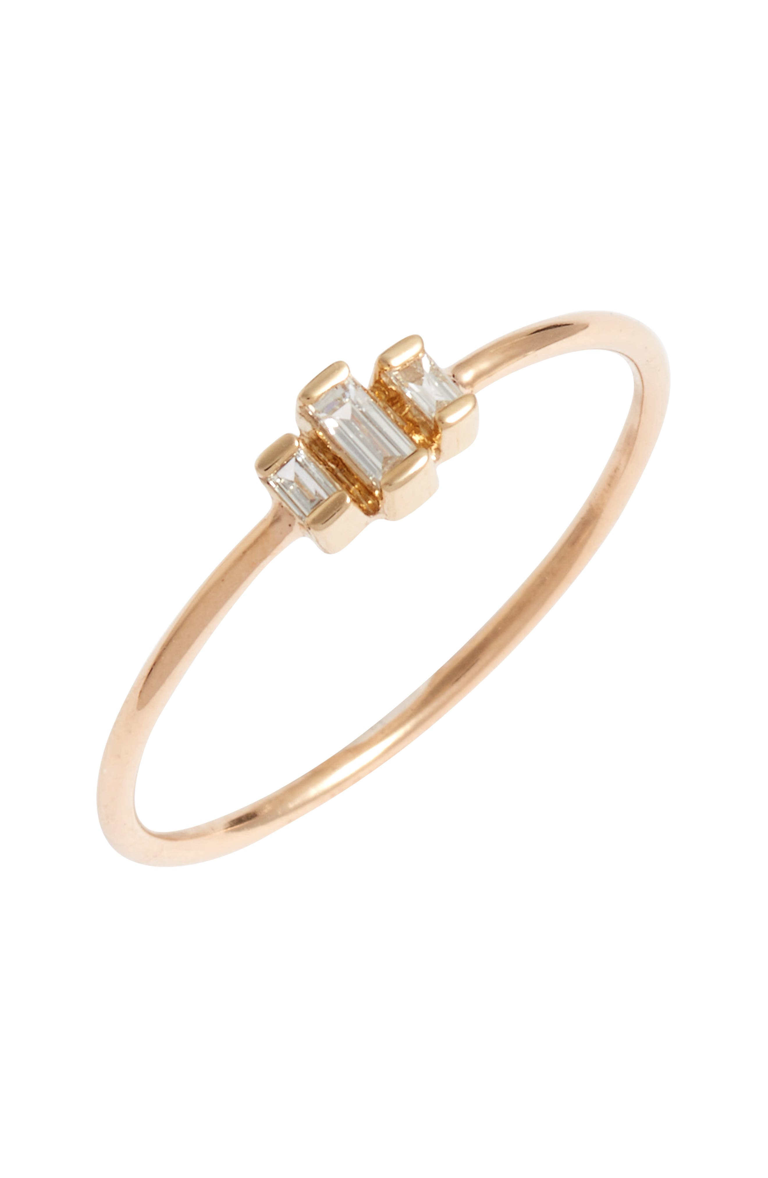 Diamond Baguette Stack Ring,                             Main thumbnail 1, color,                             YELLOW GOLD