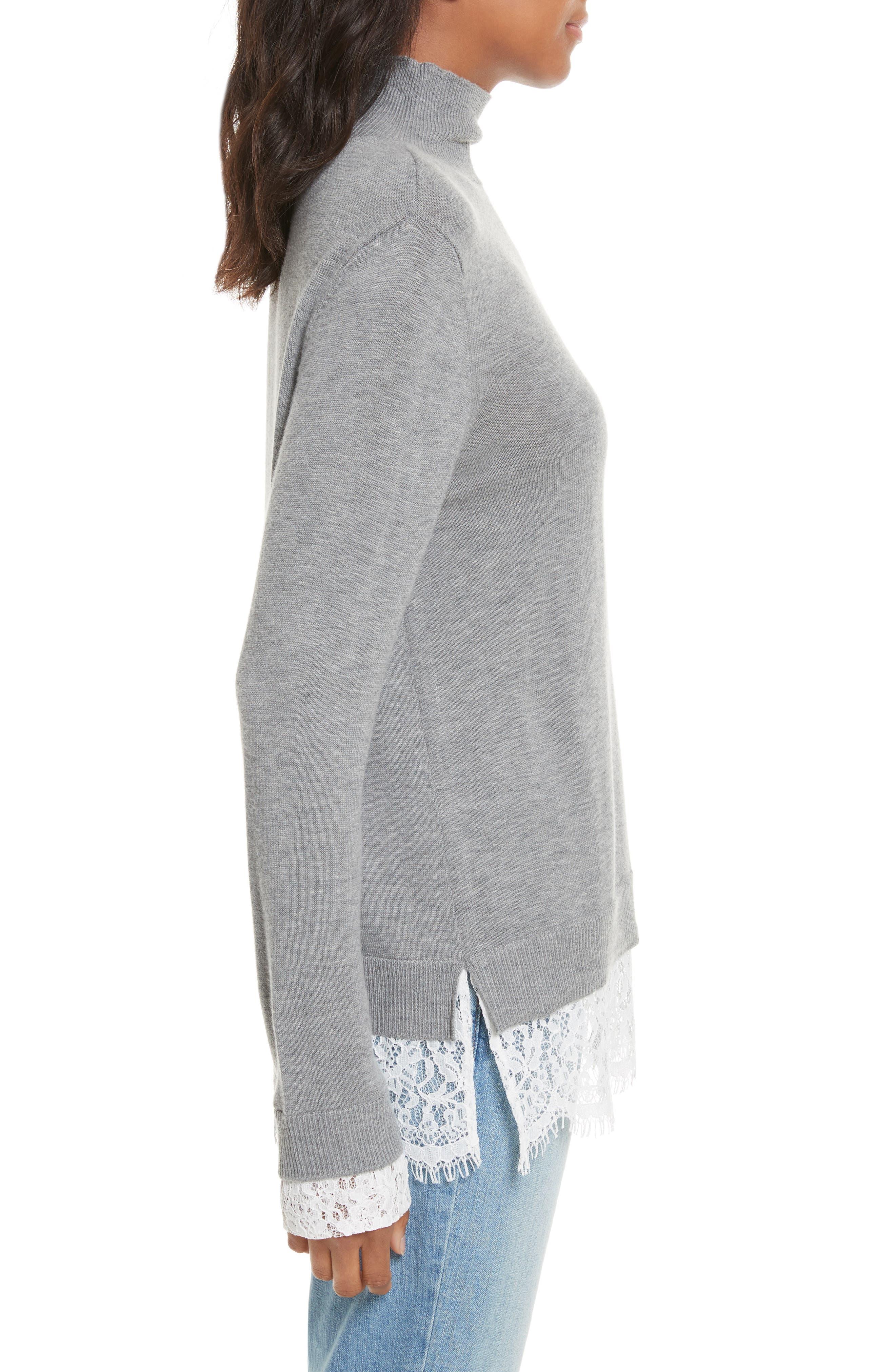 Fredrika Lace Inset Sweater,                             Alternate thumbnail 3, color,                             071