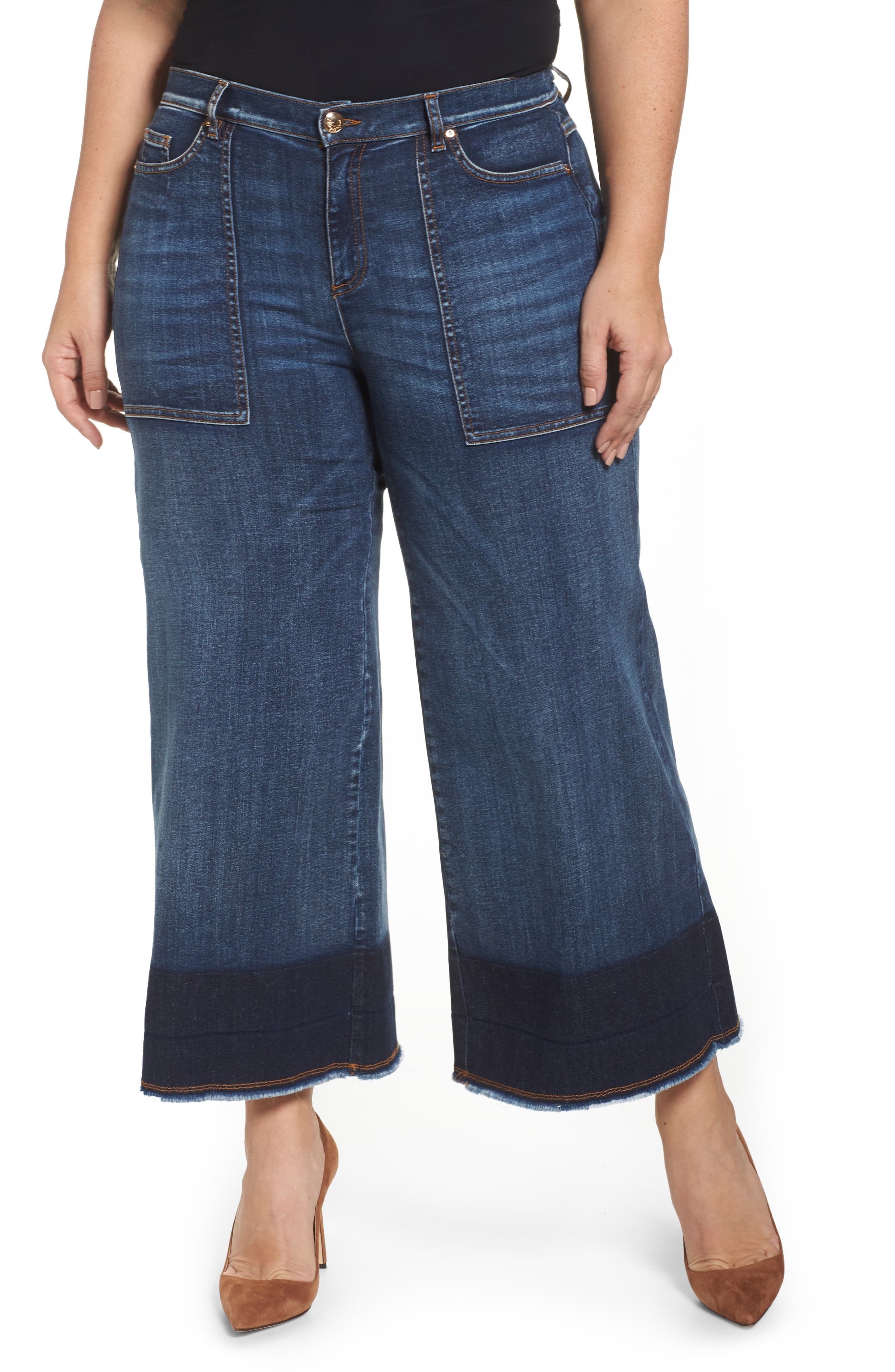 Idioma Super Stretch Wide Leg Jeans,                         Main,                         color, 454