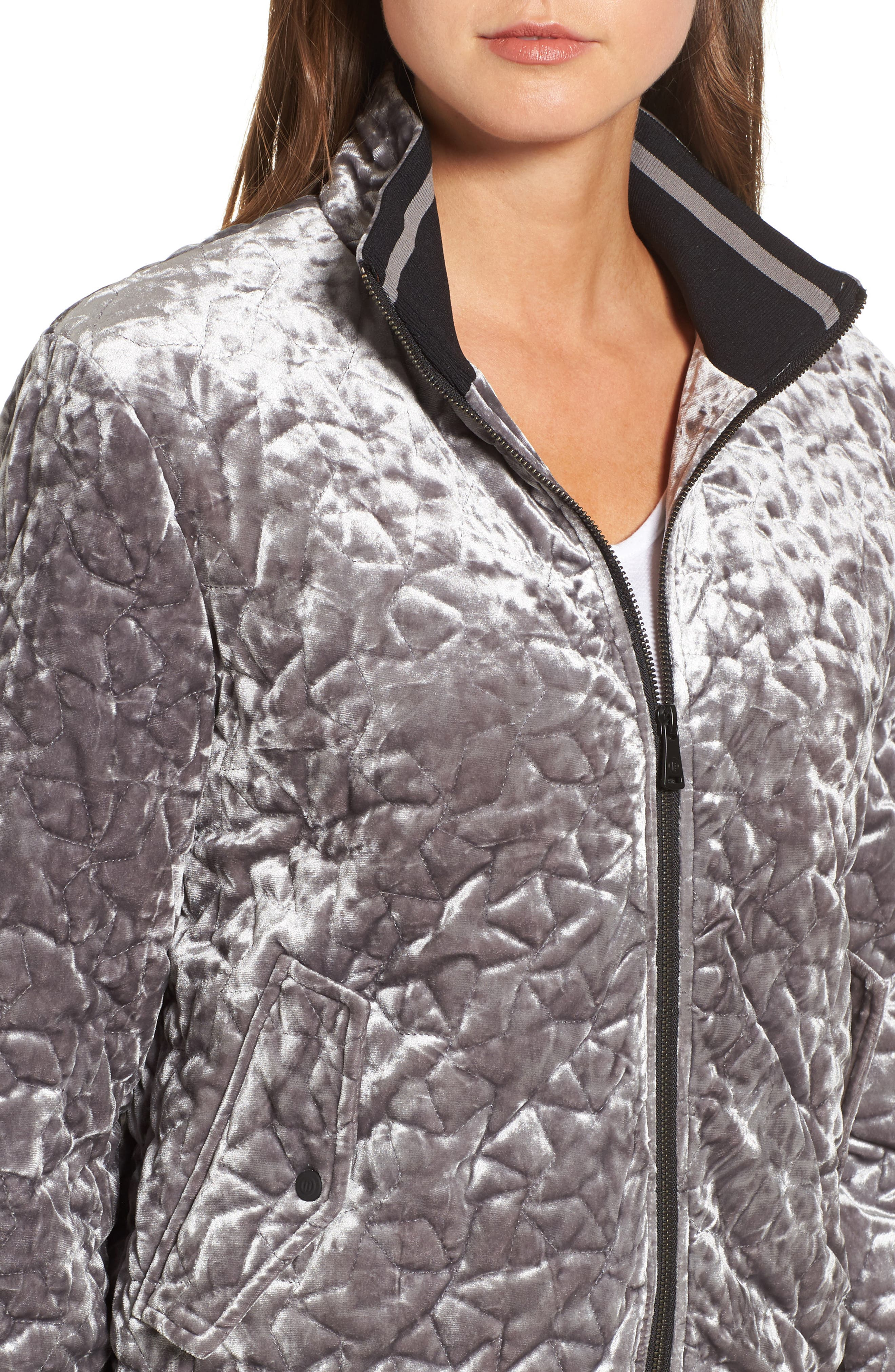 Quilted Velvet Bomber Jacket,                             Alternate thumbnail 4, color,                             049
