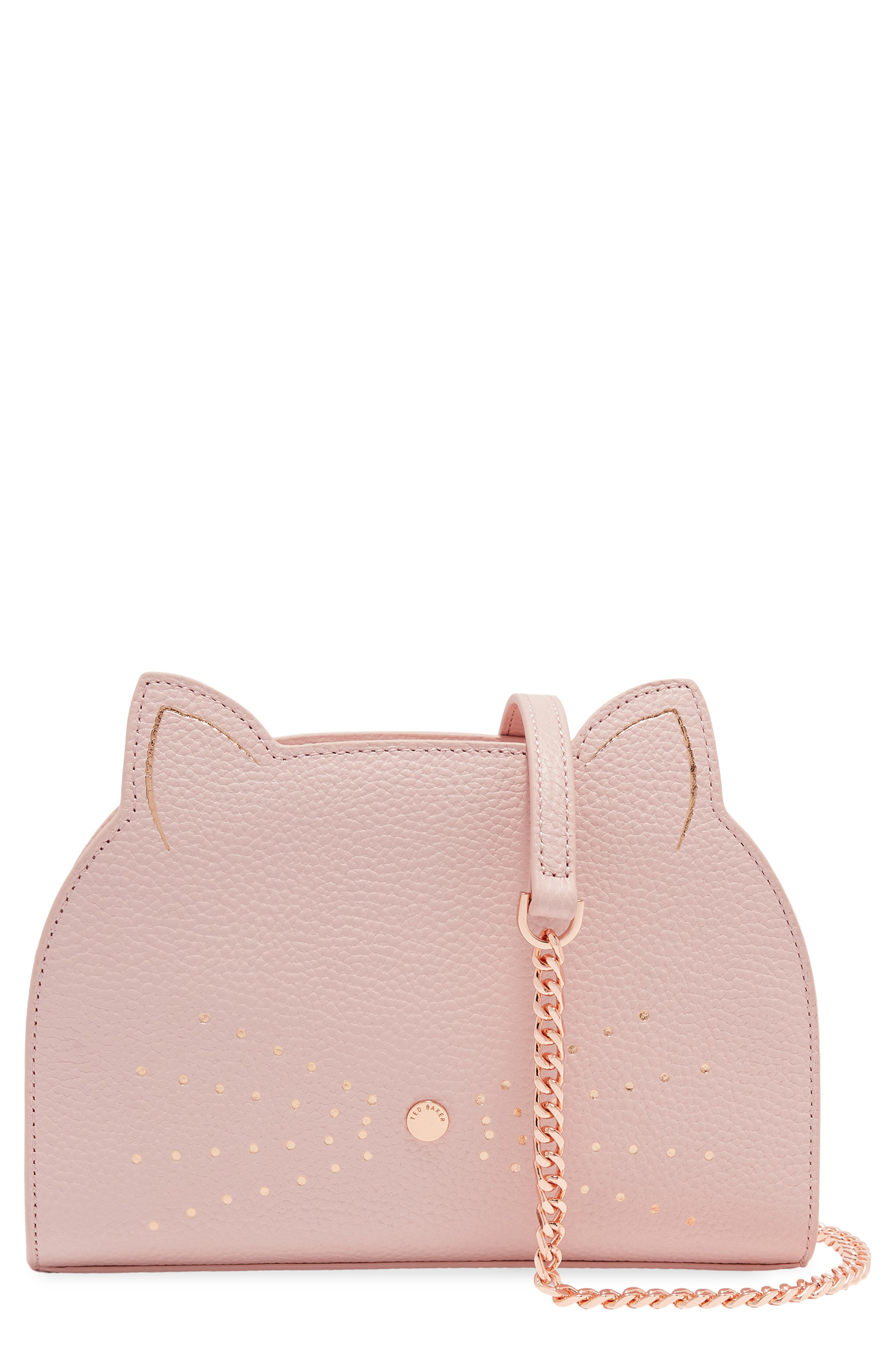 TED BAKER Kirstie Cat Leather Crossbody Bag - Pink in Light Pink