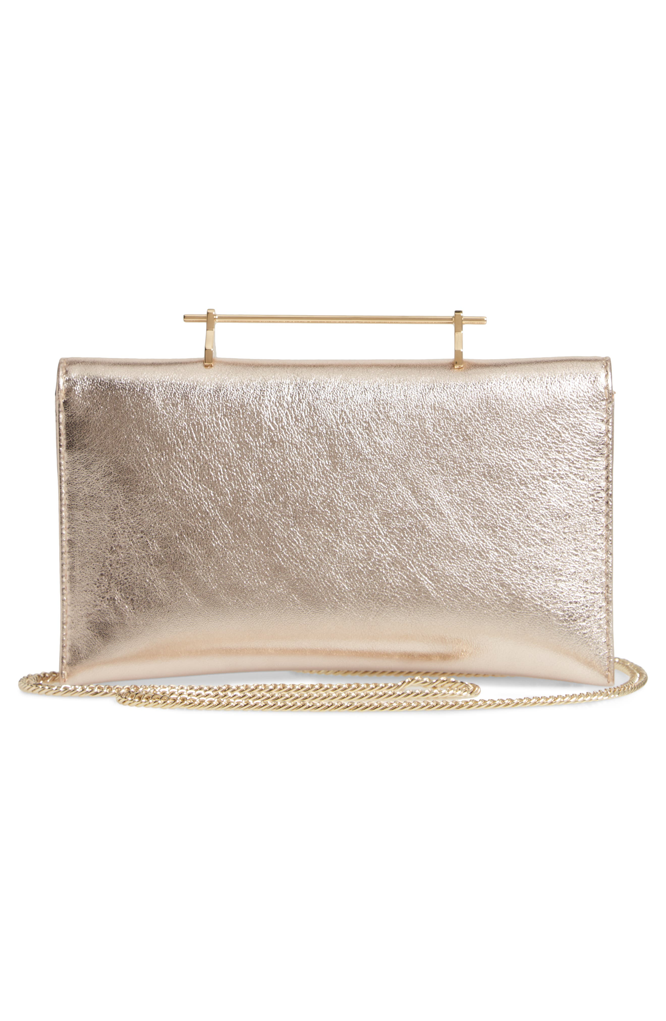 Annabelle Metallic Calfskin Leather Clutch,                             Alternate thumbnail 3, color,                             METALLIC GOLD/ GOLD