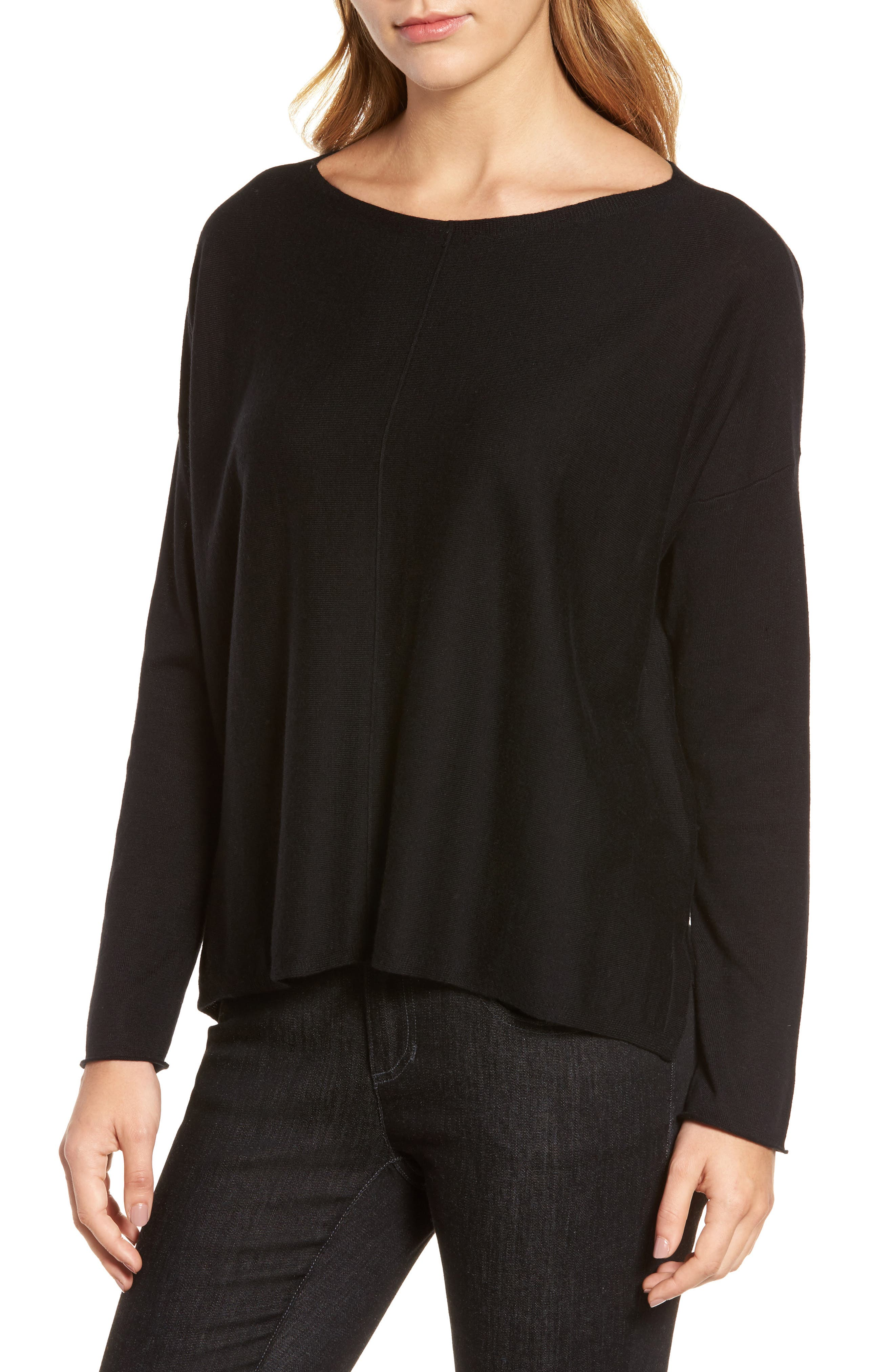 Tencel<sup>®</sup> Lyocell Blend High/Low Sweater,                         Main,                         color, 001