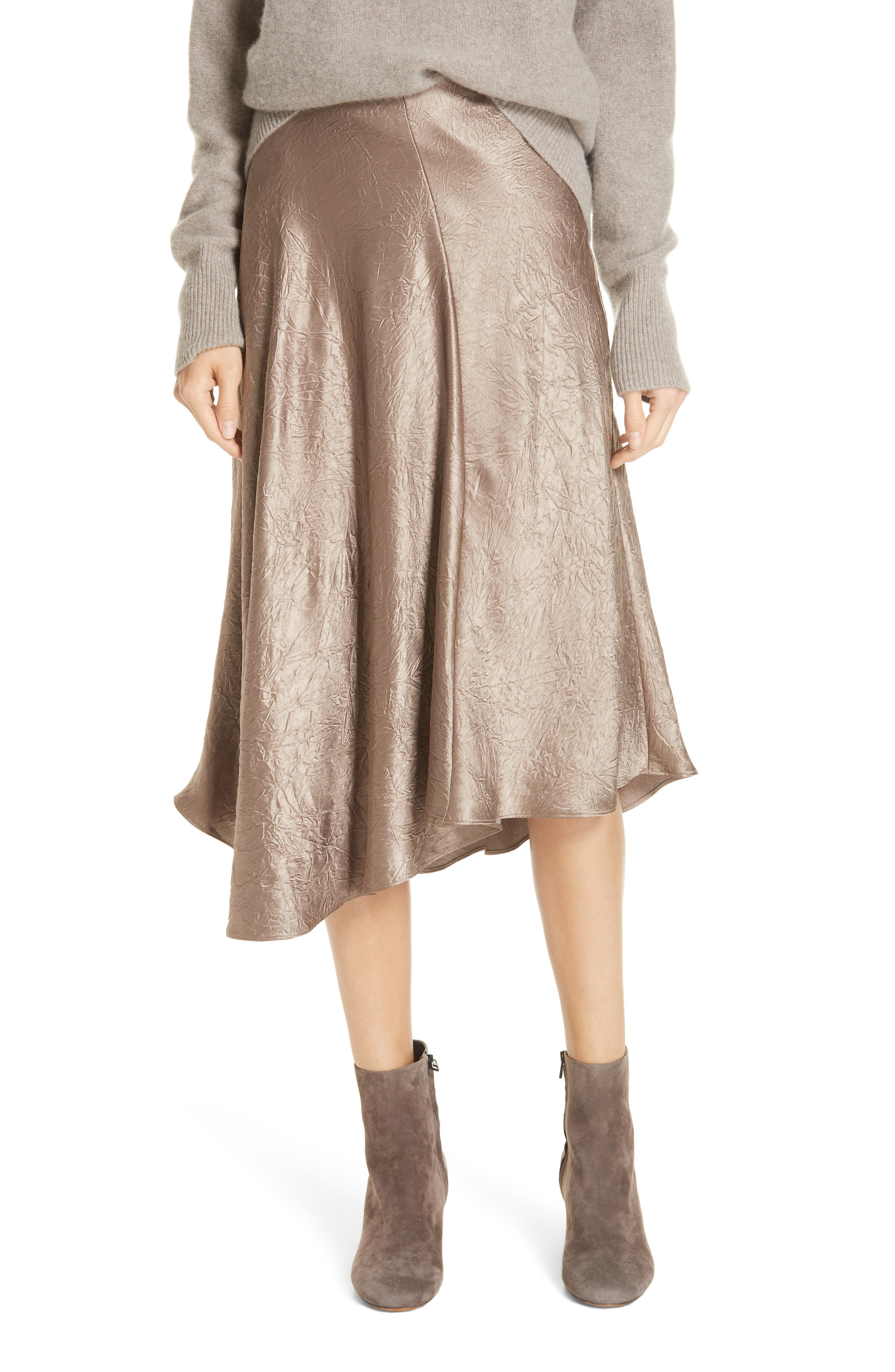 Asymmetrical Crinkled Satin Skirt,                             Main thumbnail 1, color,                             TAUPE