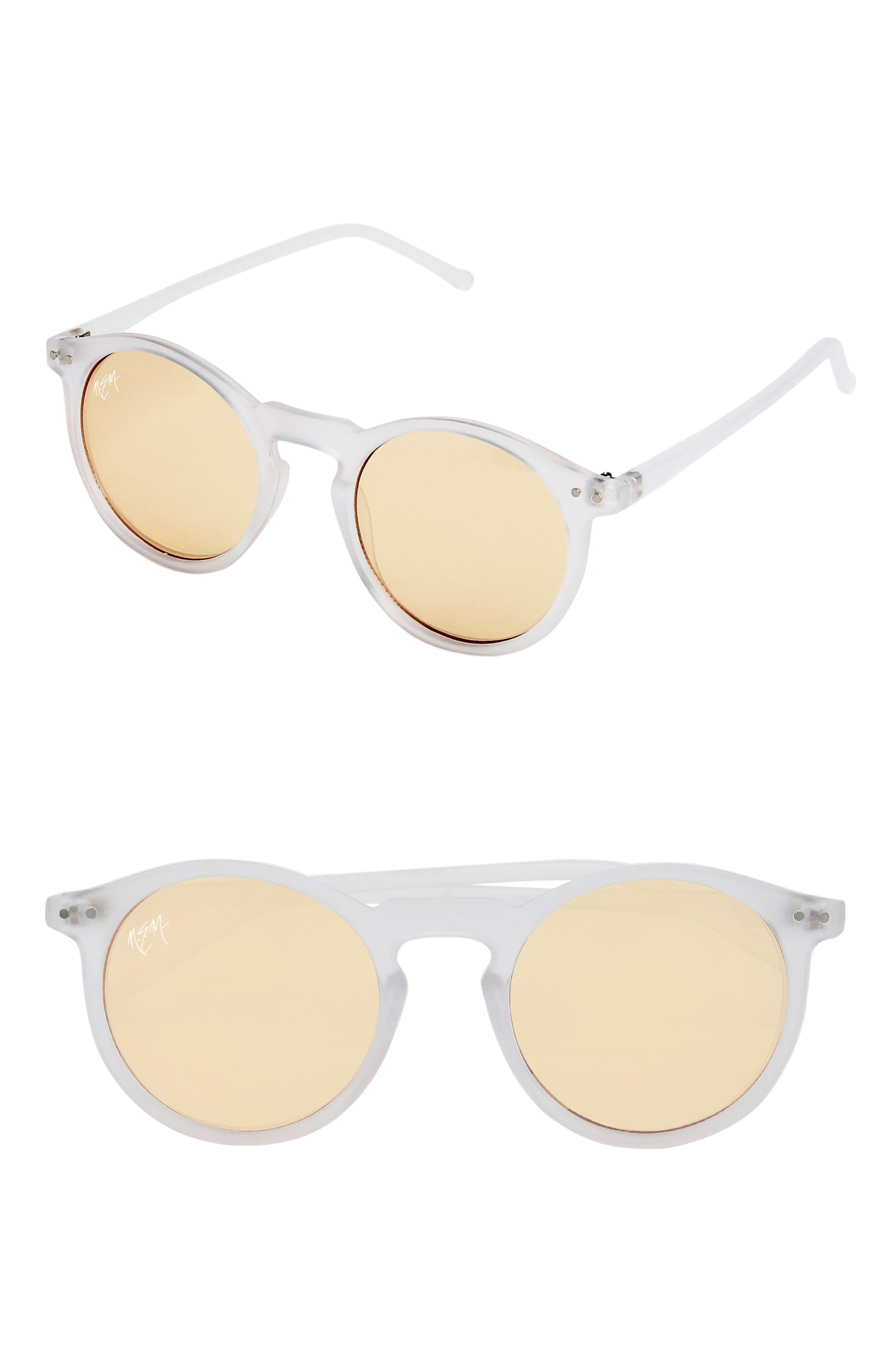 Nem 50Mm Mirrored Round Sunglasses - Clear Sky Blue/ Gold Tint