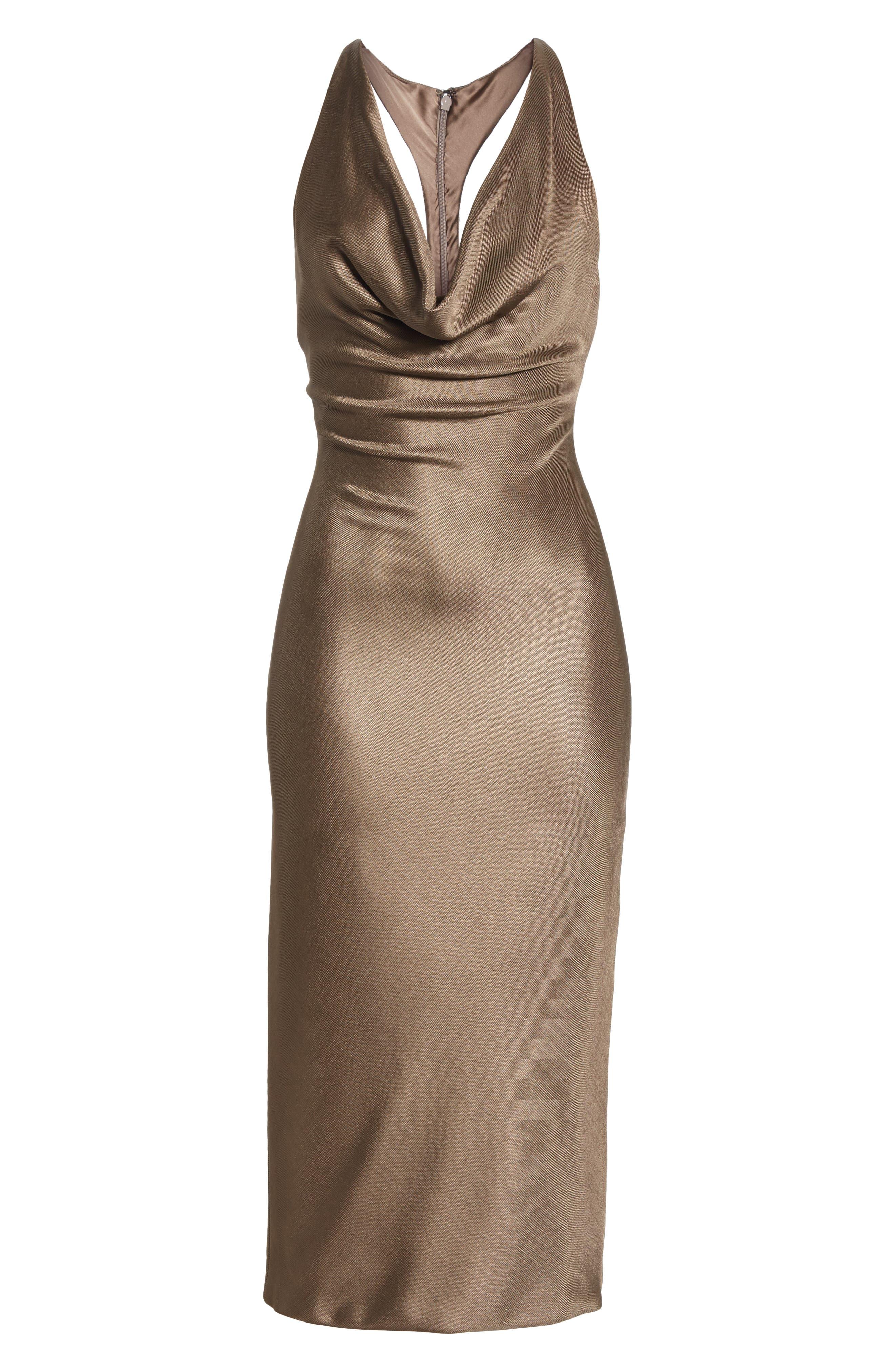 CUSHNIE,                             Cowl Neck Sheath Dress,                             Alternate thumbnail 7, color,                             MINK