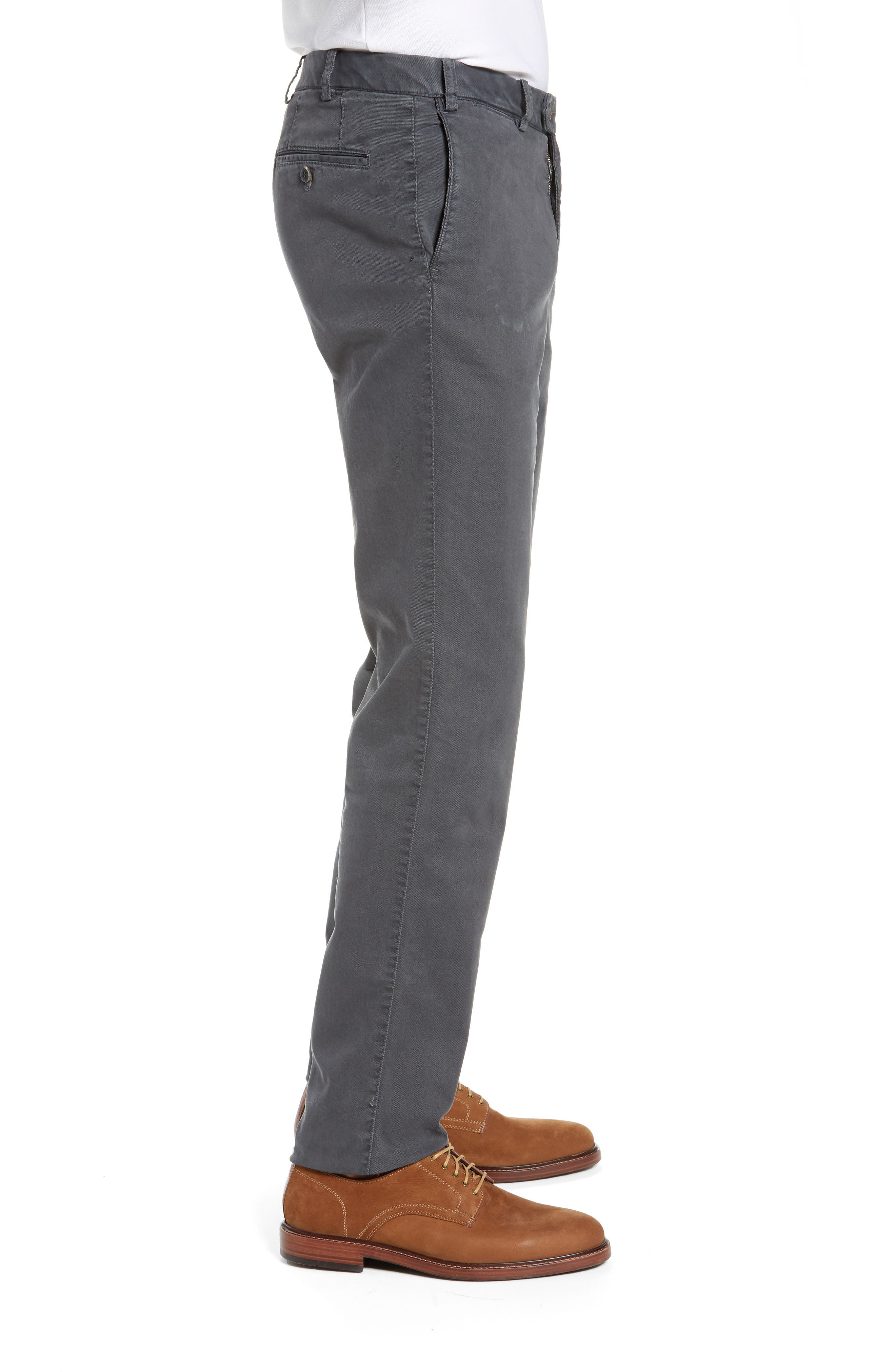 Pero Trim Fit Flat Front Chino Trousers,                             Alternate thumbnail 3, color,                             GREY