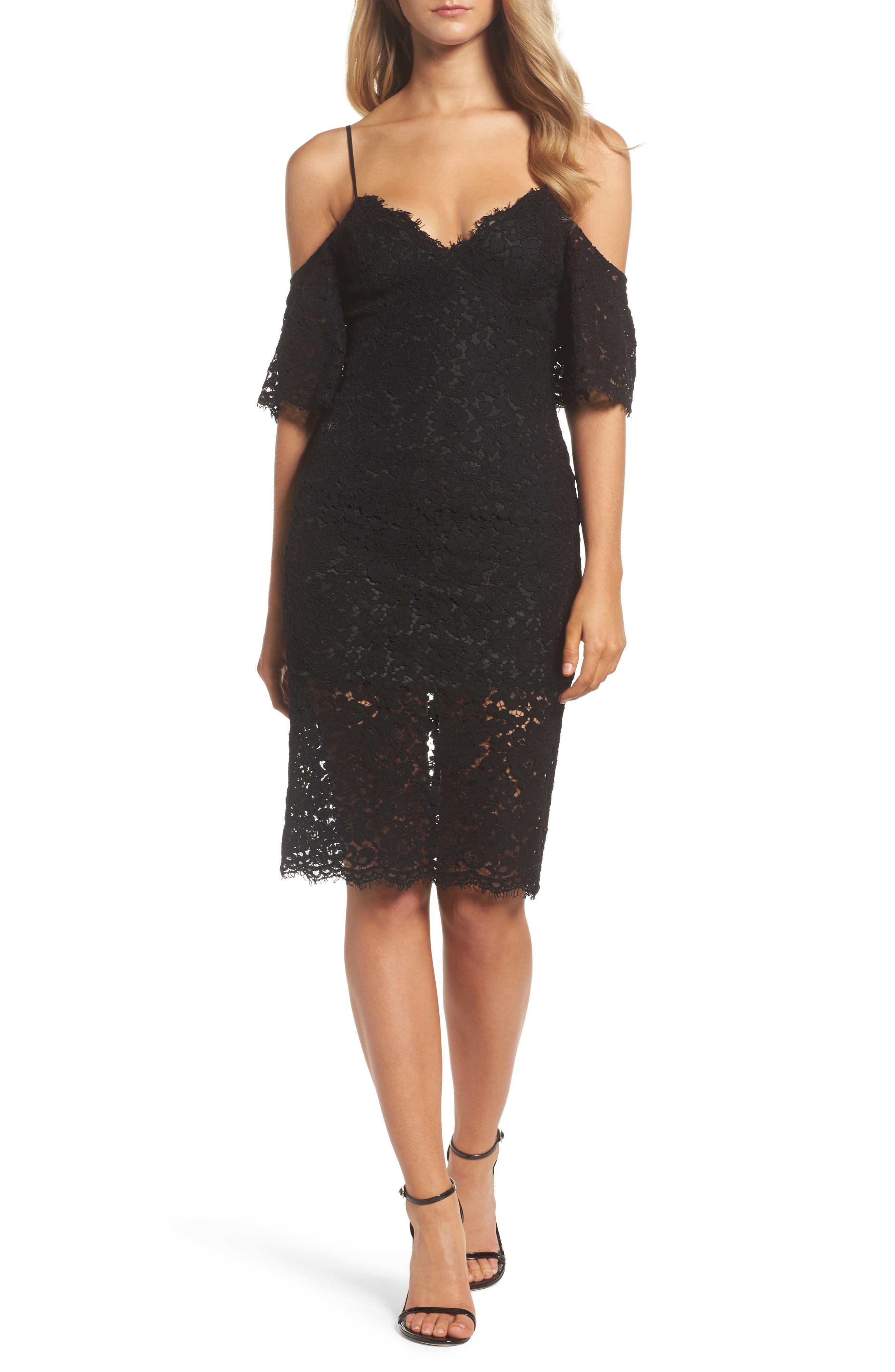 Karlie Cold Shoulder Lace Dress,                             Main thumbnail 1, color,                             001