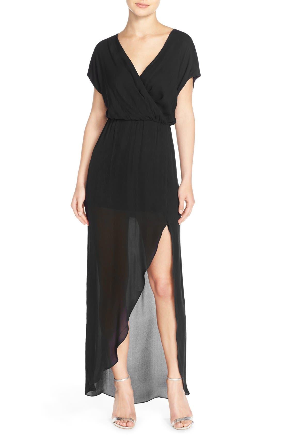'Plaza' Faux Wrap Silk Georgette Cutaway Gown,                             Main thumbnail 1, color,                             001