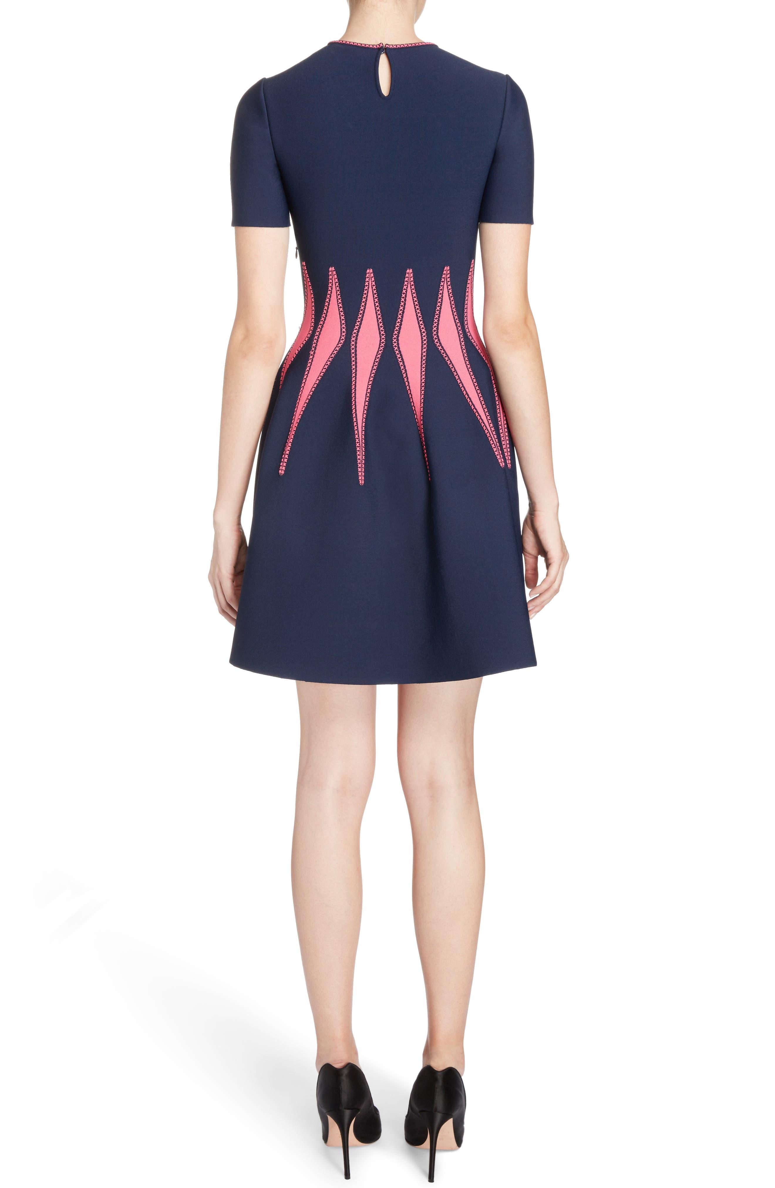 Corset Stitch Fit & Flare Dress,                             Alternate thumbnail 2, color,                             409