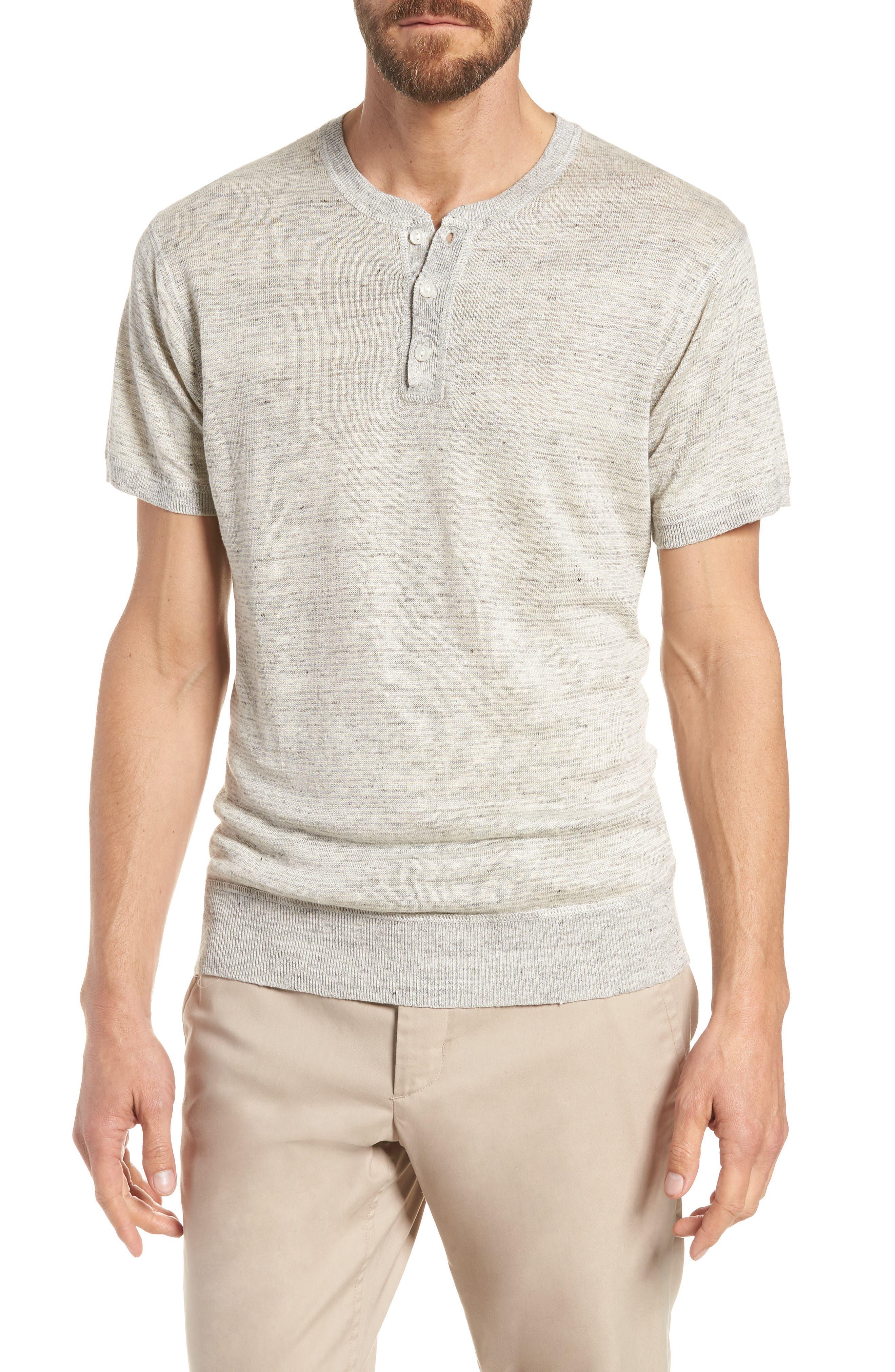 BONOBOS Linen Henley T-Shirt, Main, color, 022