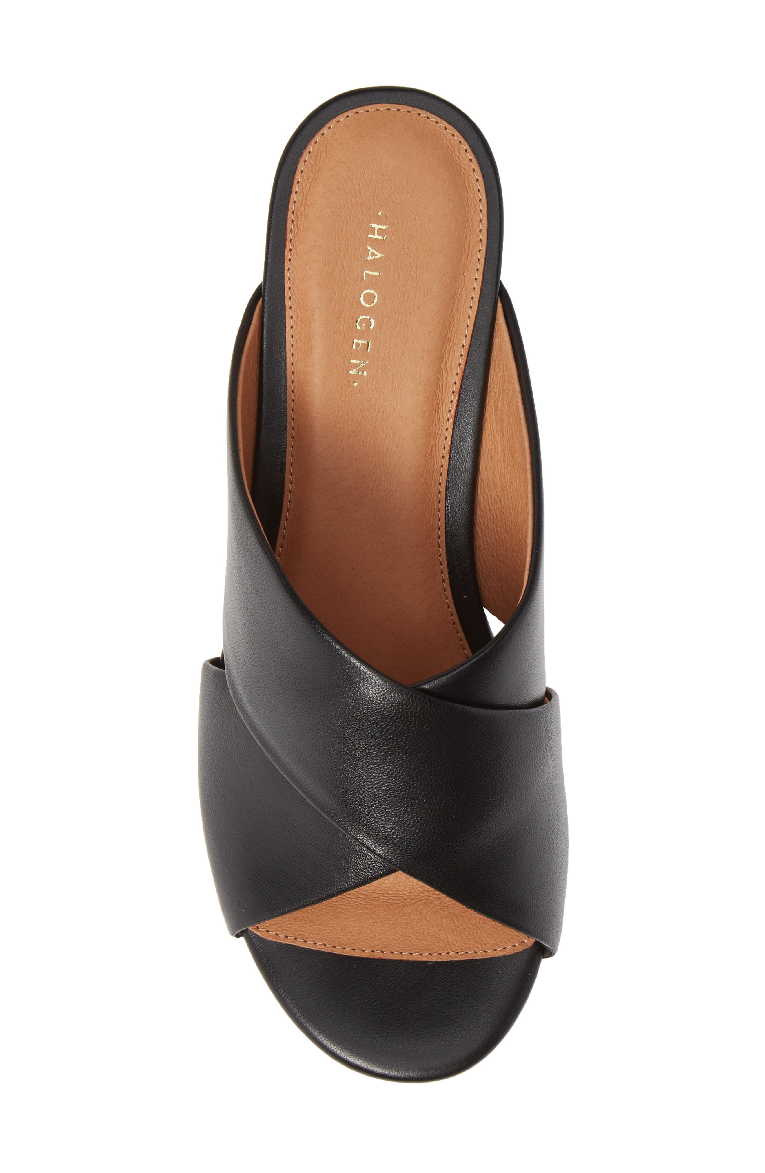 Elena Platform Wedge Sandal,                             Alternate thumbnail 5, color,                             BLACK LEATHER