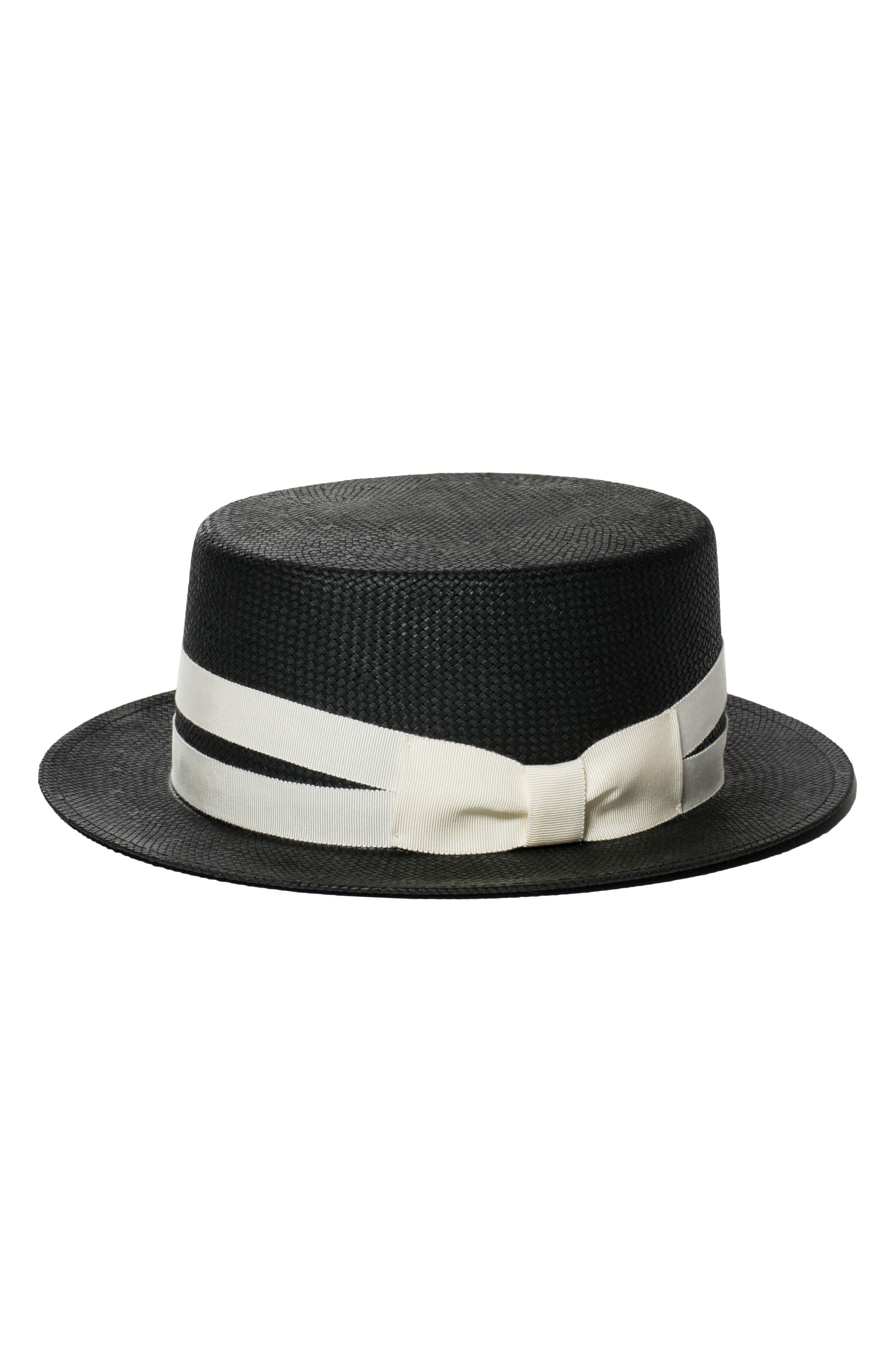 The Gemini Boater Hat,                         Main,                         color, BLACK