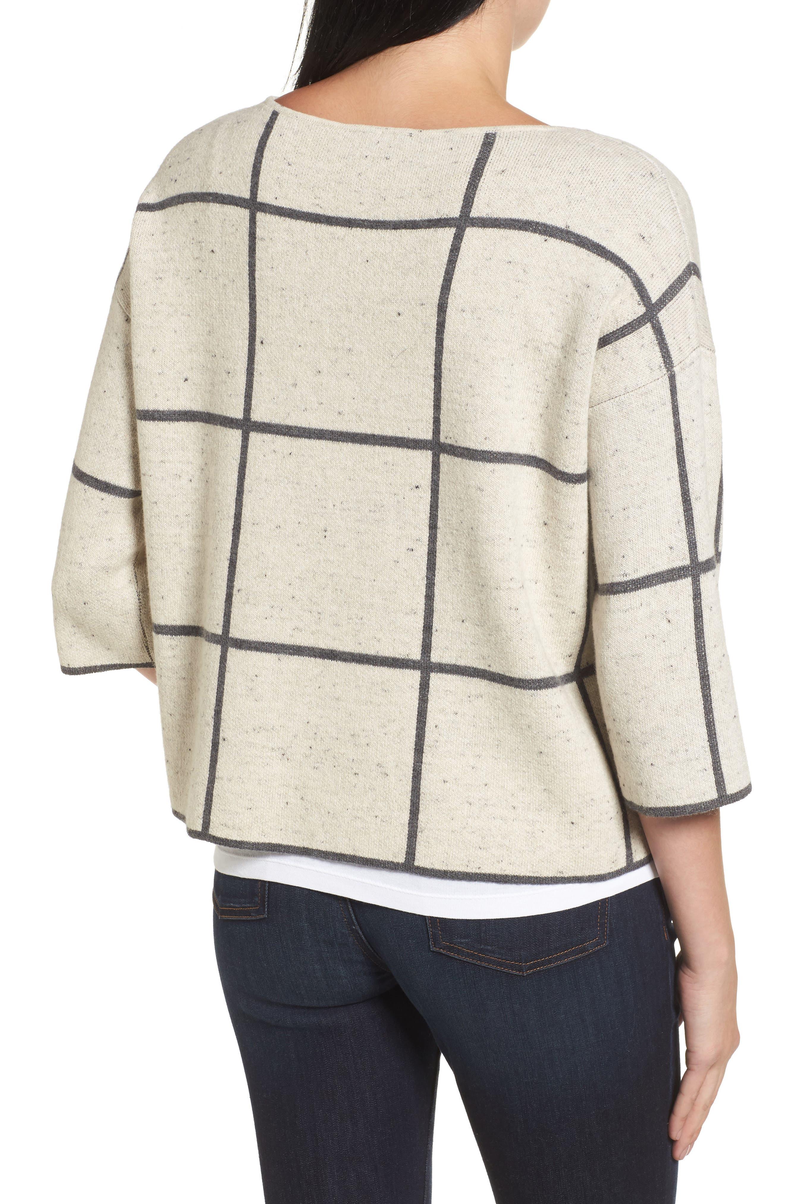 Windowpane Check Boxy Sweater,                             Alternate thumbnail 2, color,
