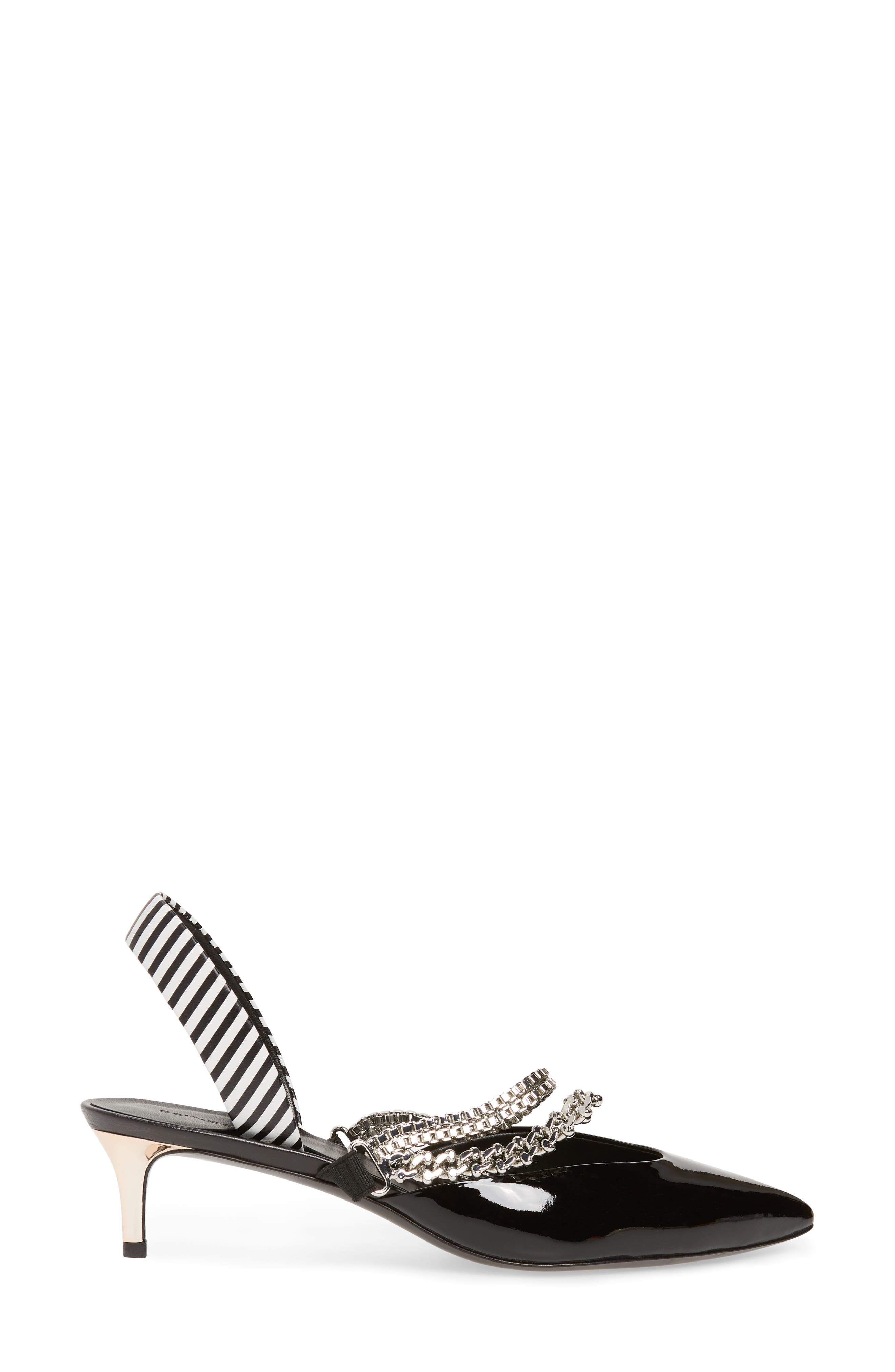 Kitty Chain Embellished Slingback Pump,                             Alternate thumbnail 3, color,                             001