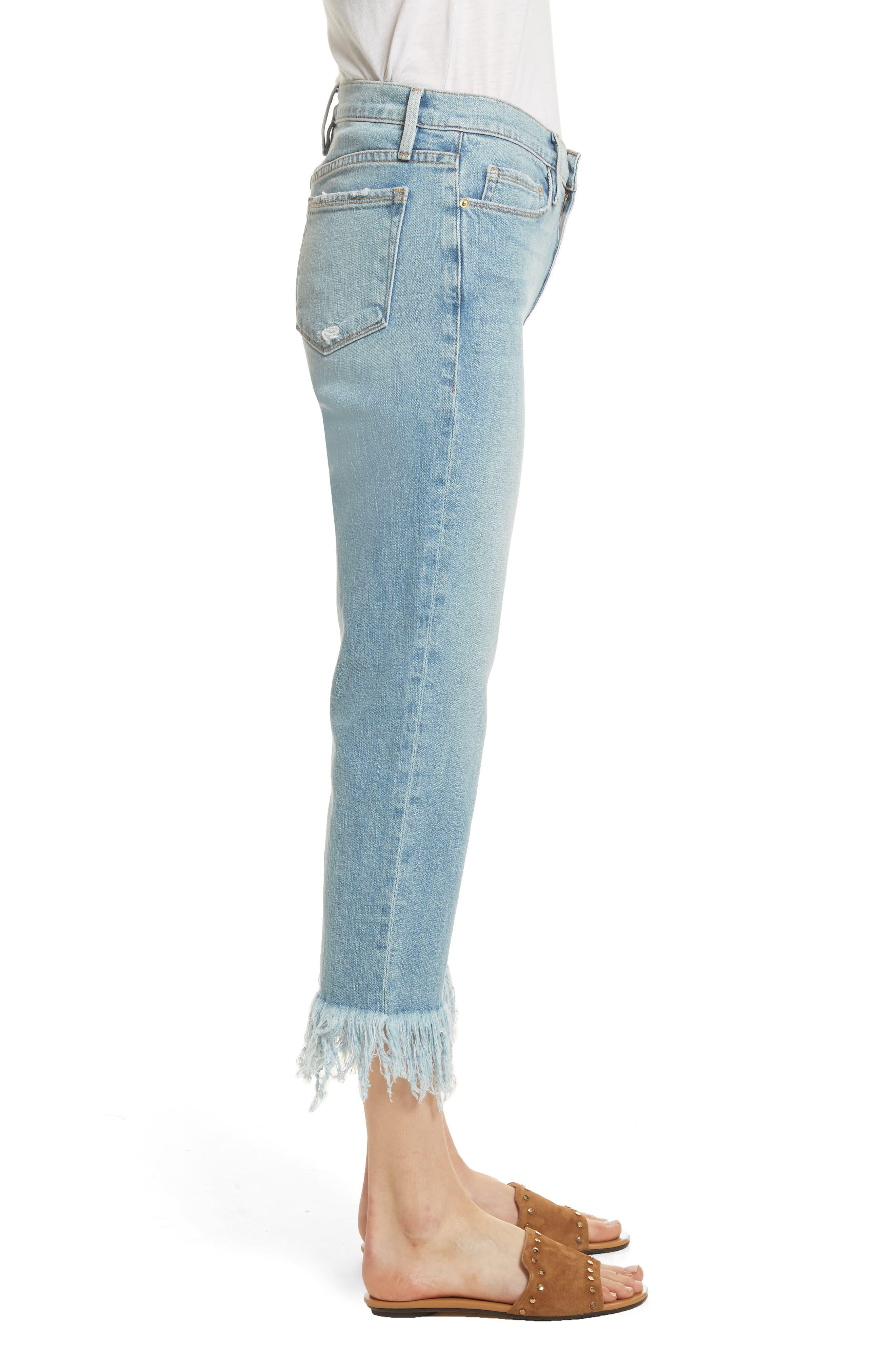 Le Nouveau Shredded Straight Leg Crop Jeans,                             Alternate thumbnail 3, color,                             450