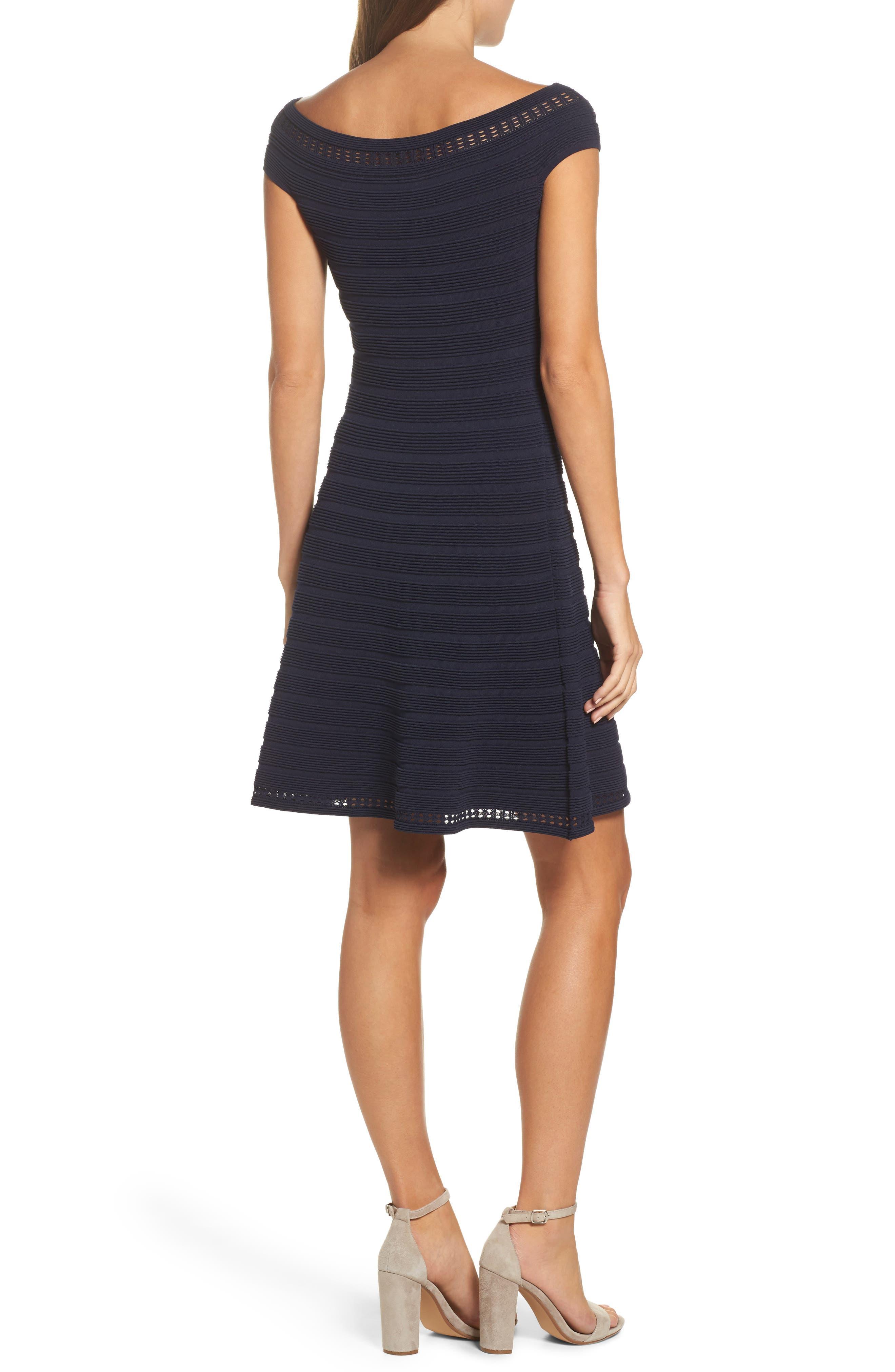 Off the Shoulder Fit & Flare Dress,                             Alternate thumbnail 2, color,                             NAVY