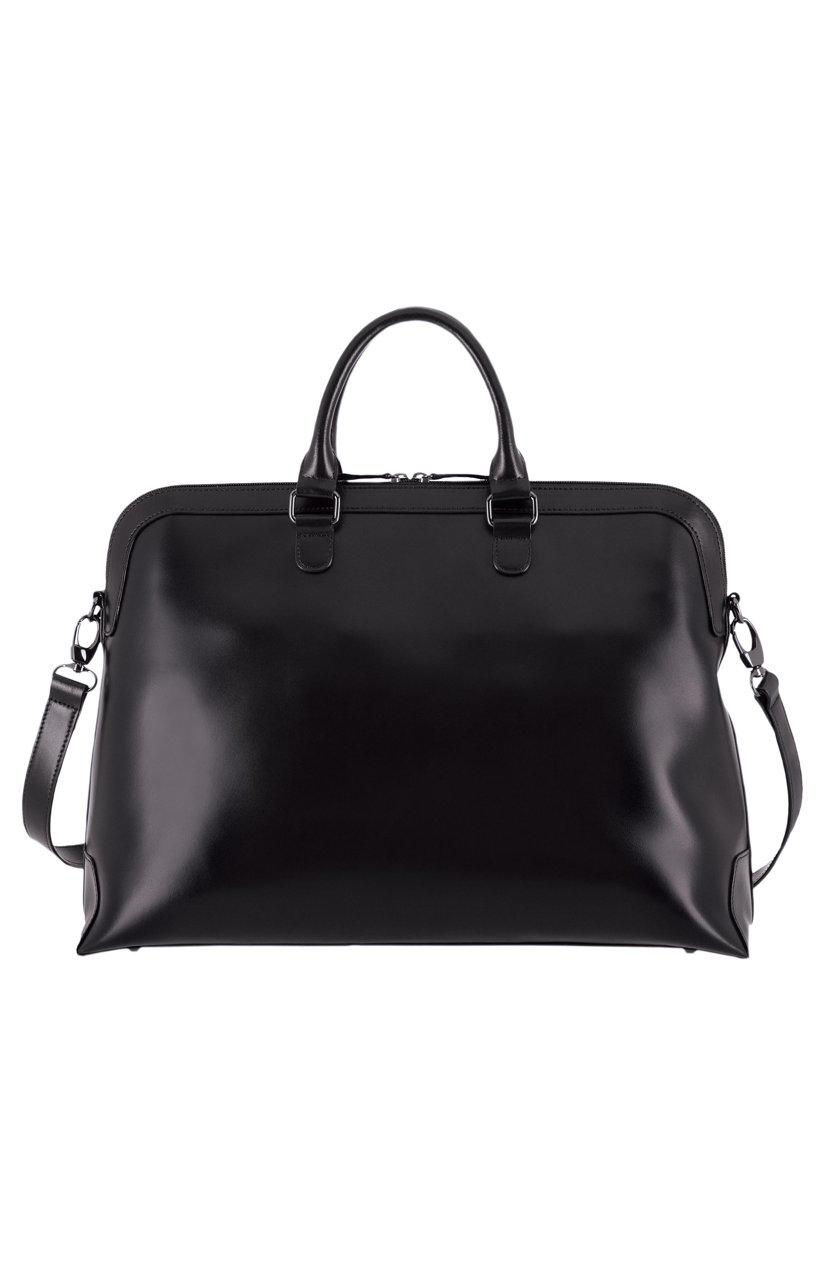 Audrey Under Lock & Key - Brera RFID Leather Briefcase,                             Alternate thumbnail 2, color,                             BLACK/ BLACK