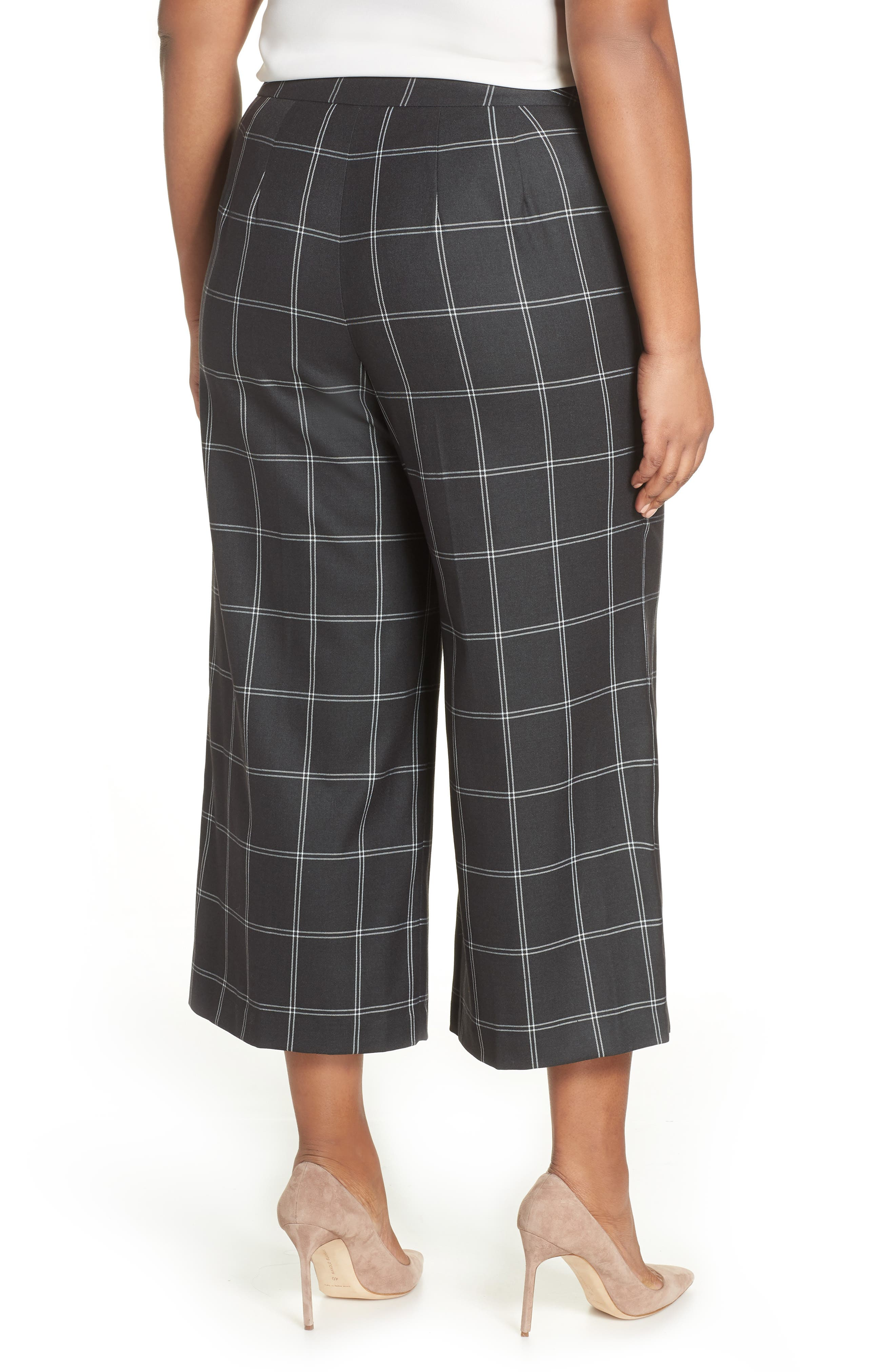Windowpane Check Wide Leg Crop Pants,                             Alternate thumbnail 2, color,                             GREY TWILL PLAID