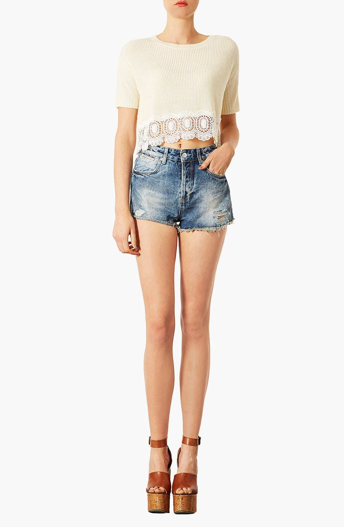 'Waterless Ruthie' Destroyed Cutoff Denim Shorts,                             Alternate thumbnail 2, color,                             420
