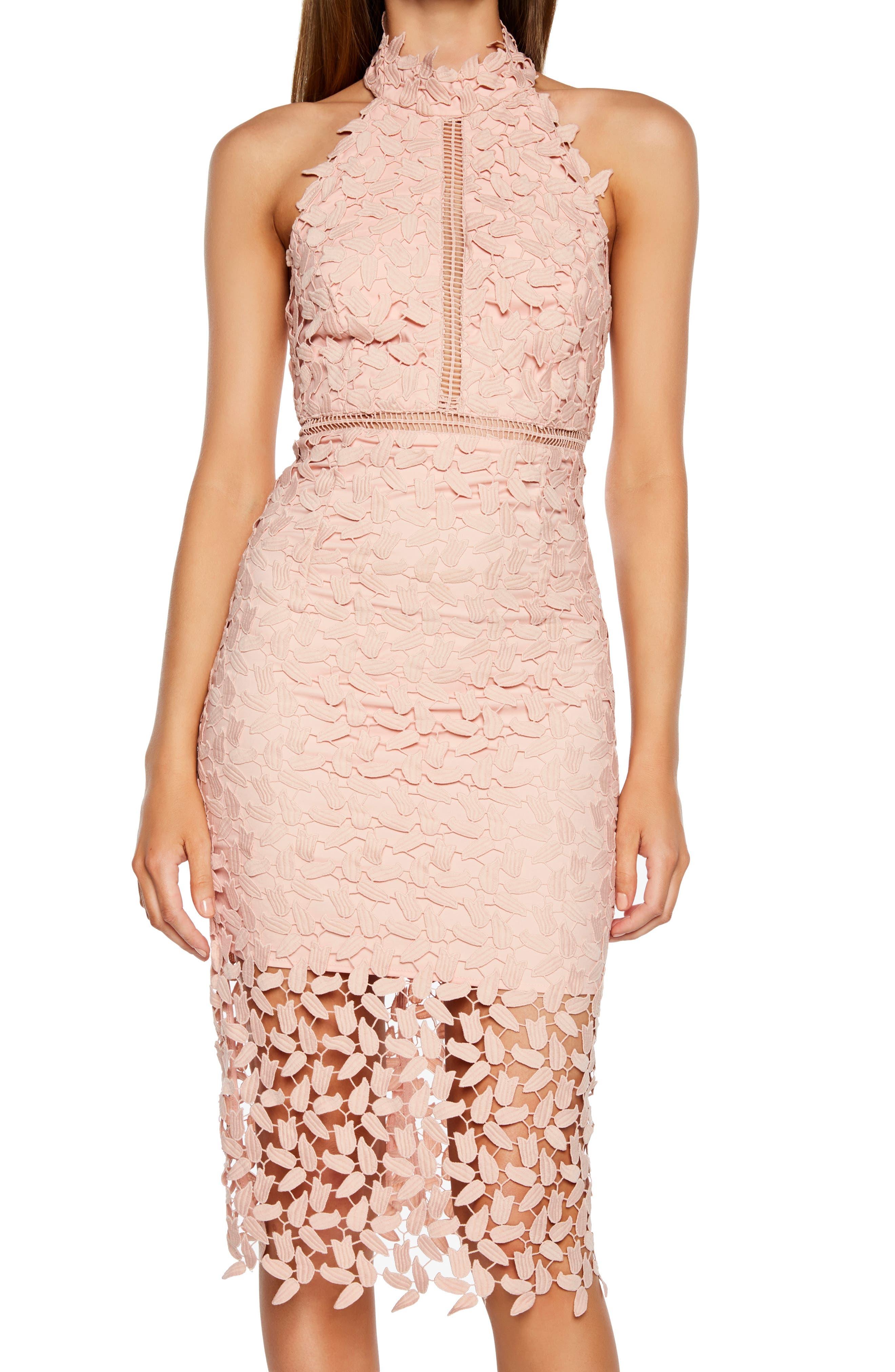 Gemma Halter Lace Sheath Dress,                             Alternate thumbnail 4, color,                             LATTE PINK