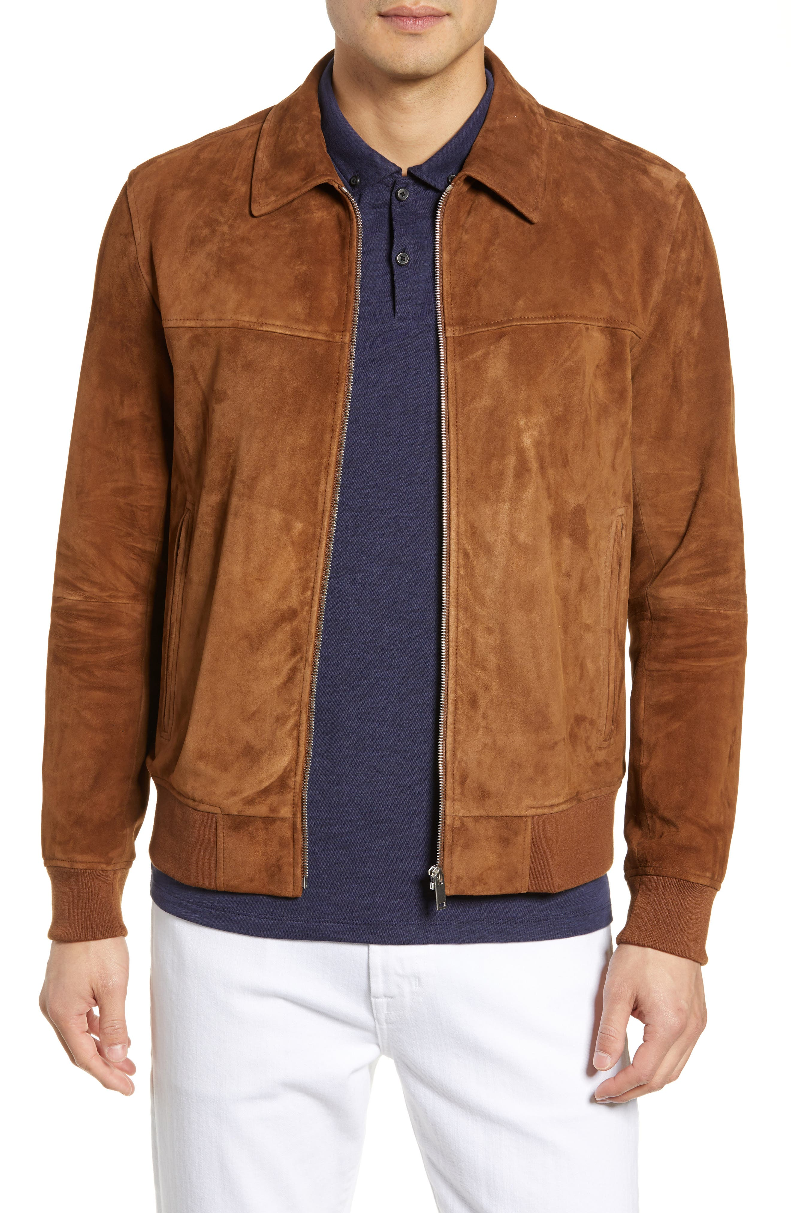 Theory Noland Able Regular Fit Suede Bomber Jacket, Brown