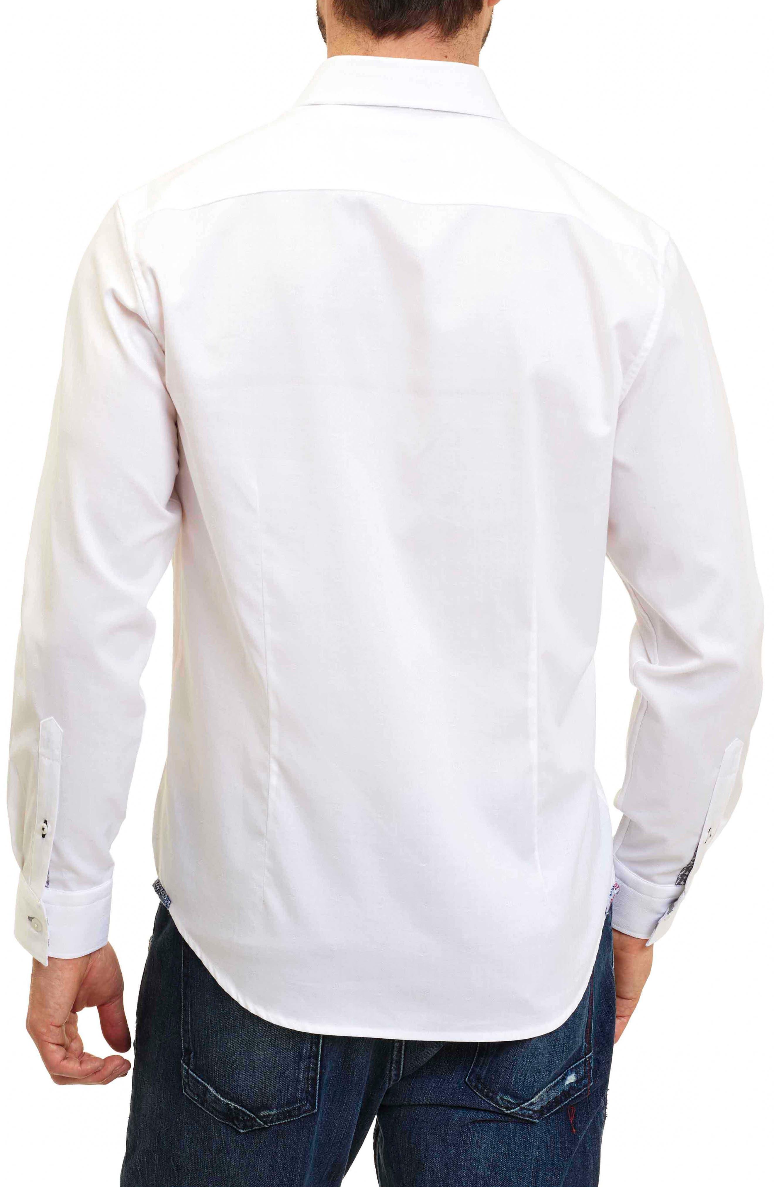 Taner Tailored Fit Dobby Herringbone Sport Shirt,                             Alternate thumbnail 2, color,                             WHITE