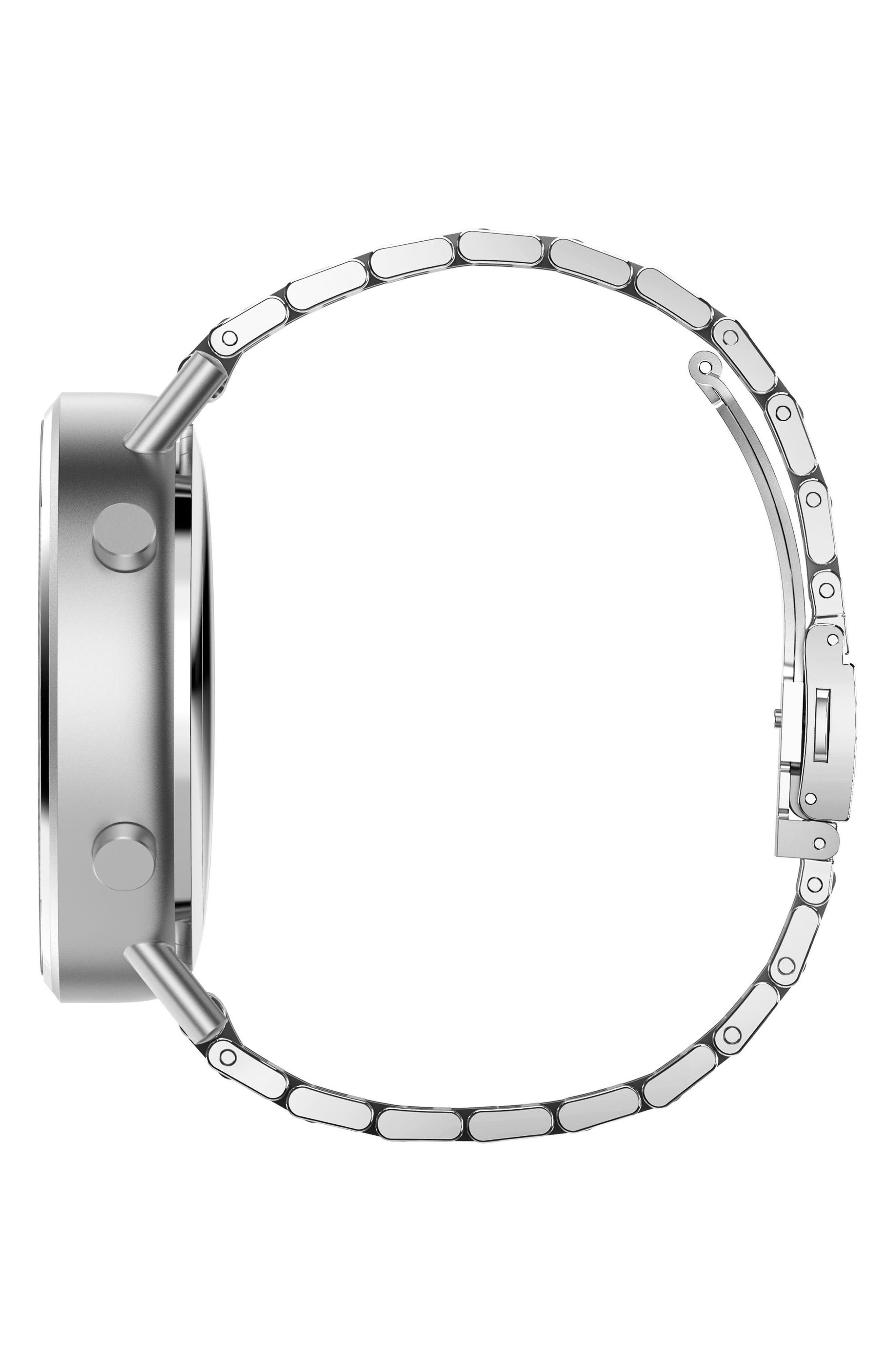 Command Hybrid Bracelet Smart Watch, 44mm,                             Alternate thumbnail 3, color,                             SILVER/ WHITE/ SILVER