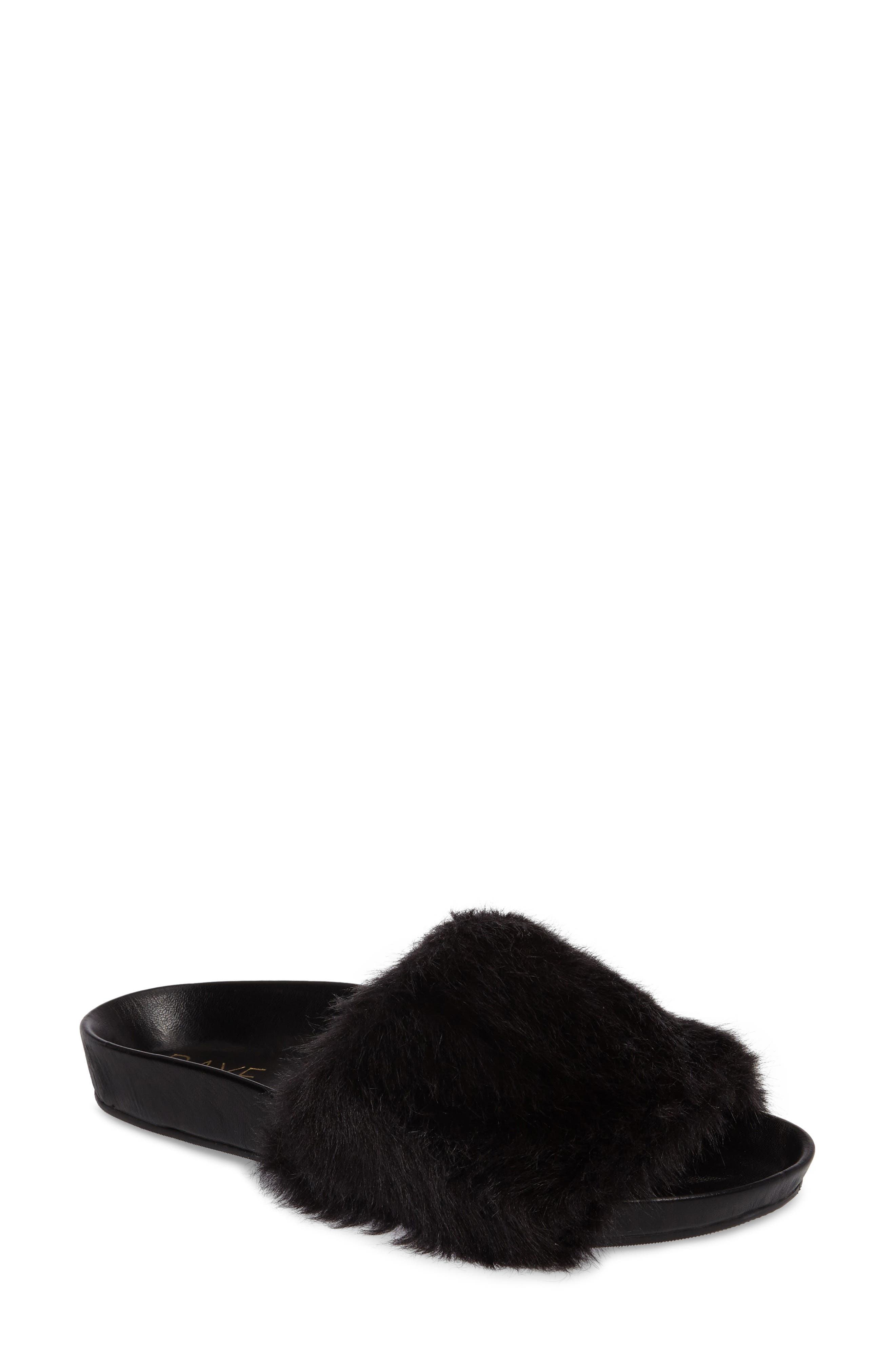 Sirius Faux Fur Slide,                         Main,                         color, 003
