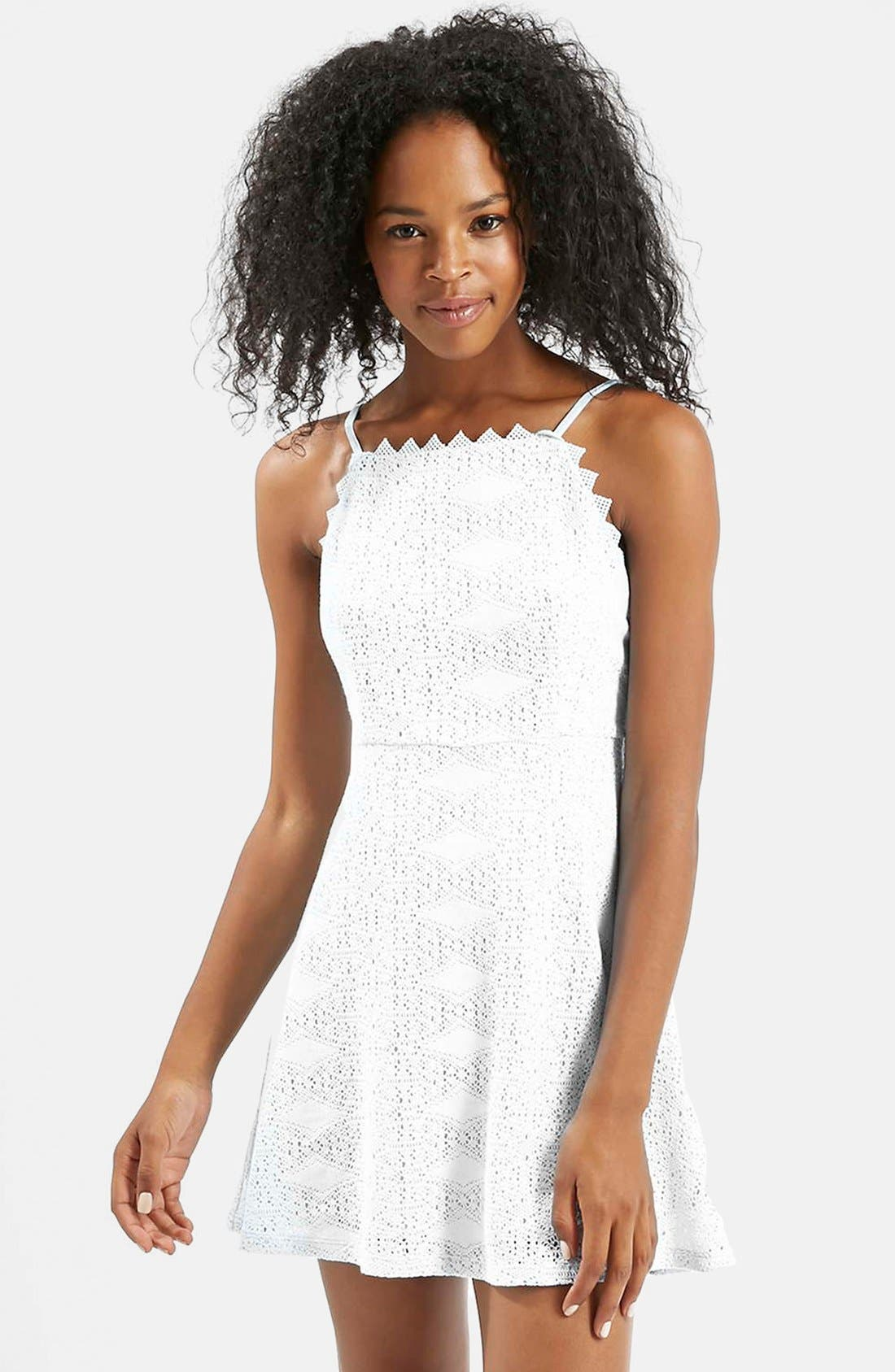 TOPSHOP,                             Crochet Dress,                             Alternate thumbnail 5, color,                             900