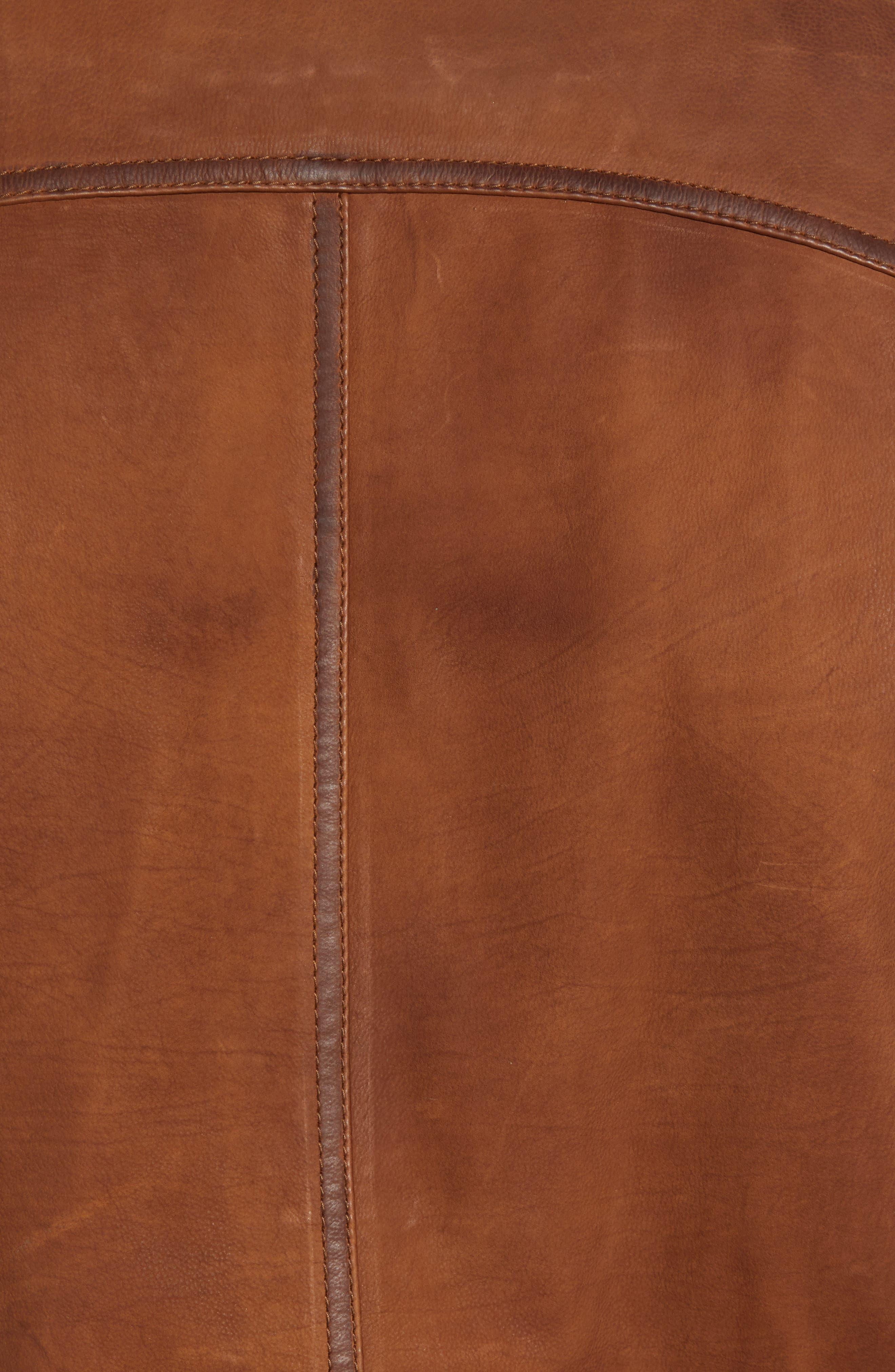 Regular Fit Leather Moto Jacket,                             Alternate thumbnail 7, color,                             COGNAC