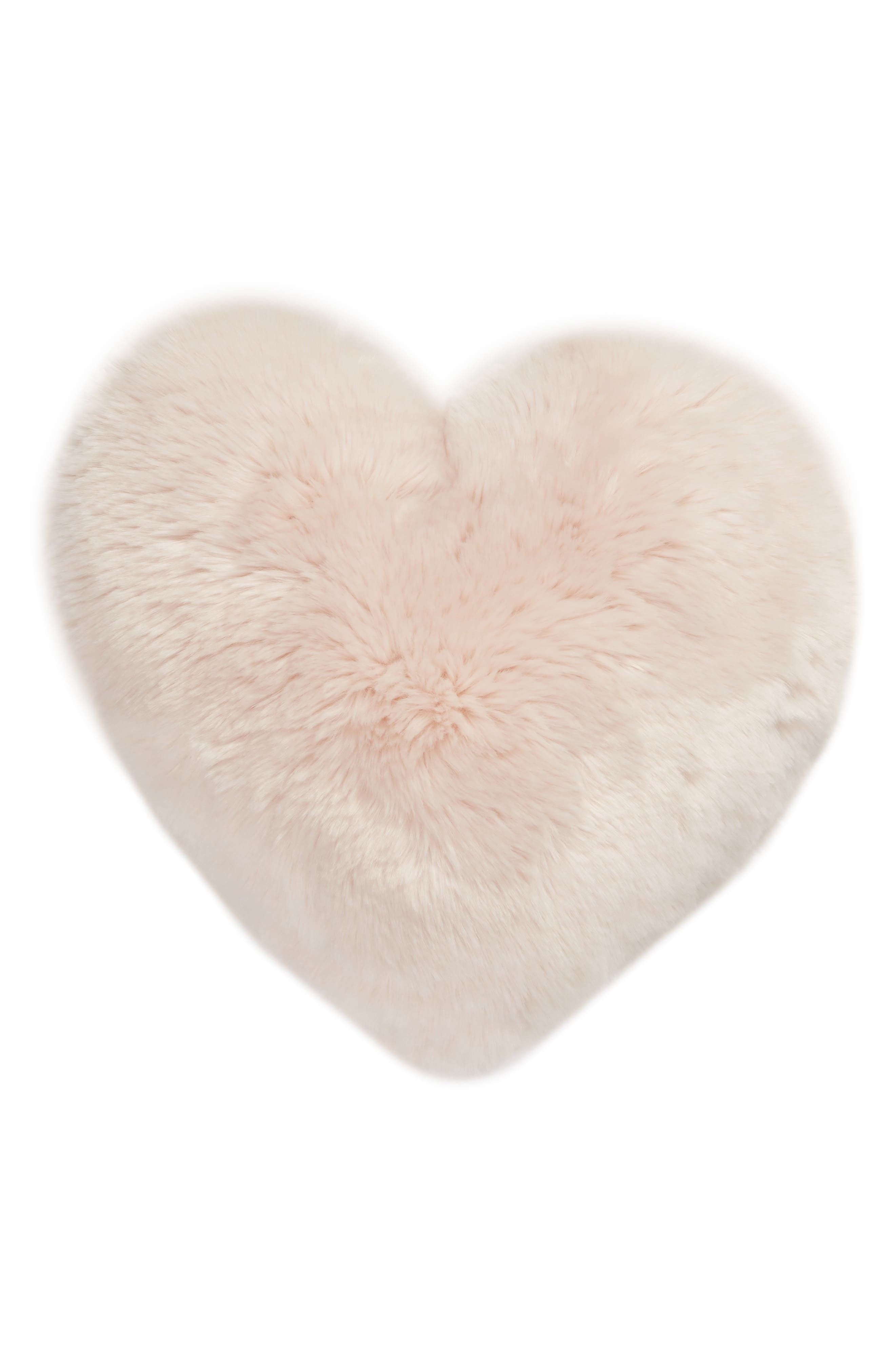 NORDSTROM AT HOME,                             Cuddle Up Faux Fur Heart Accent Pillow,                             Main thumbnail 1, color,                             PINK FROSTY