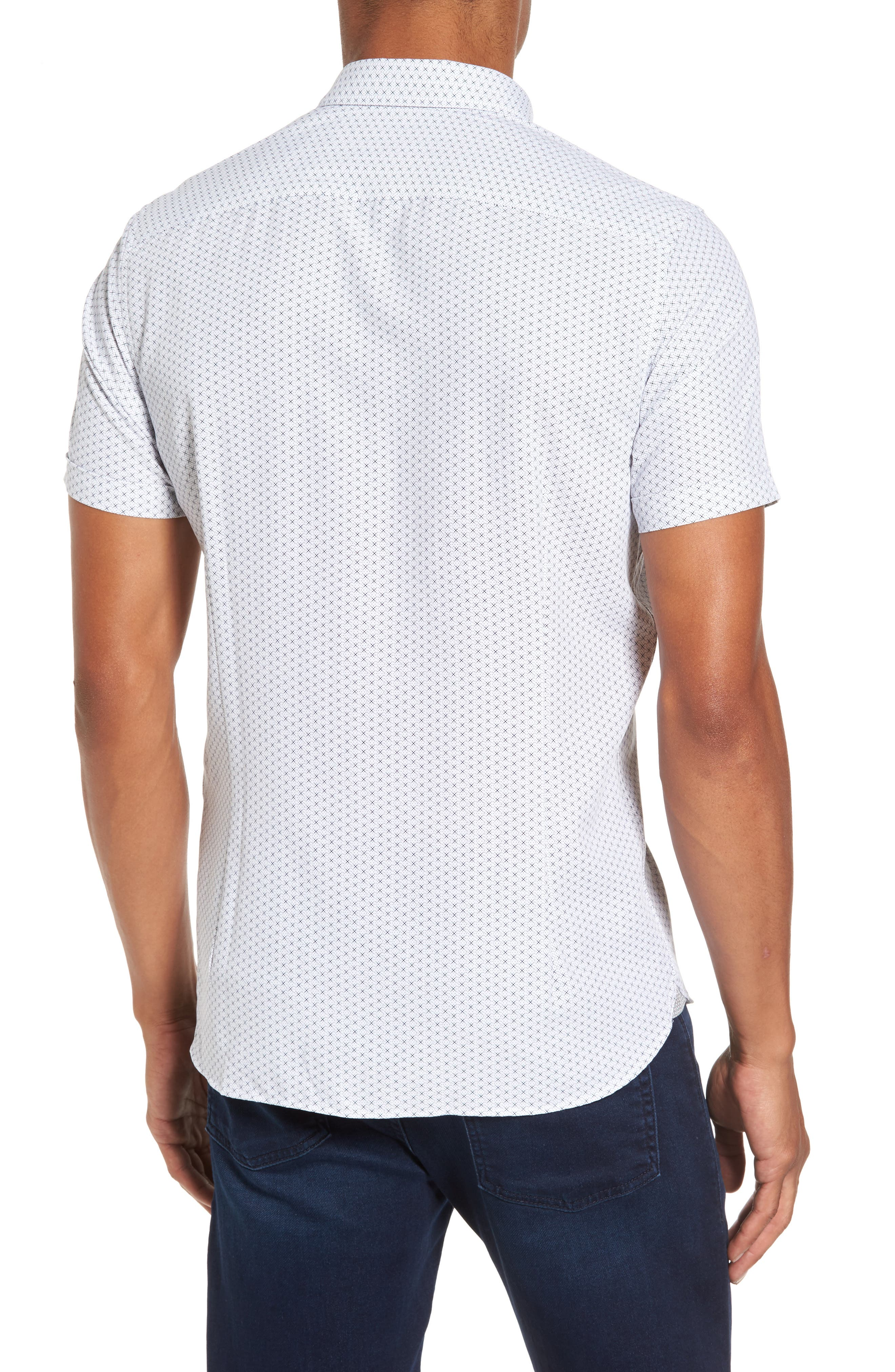 Geo Polynosic Slim Fit Woven Shirt,                             Alternate thumbnail 2, color,                             110