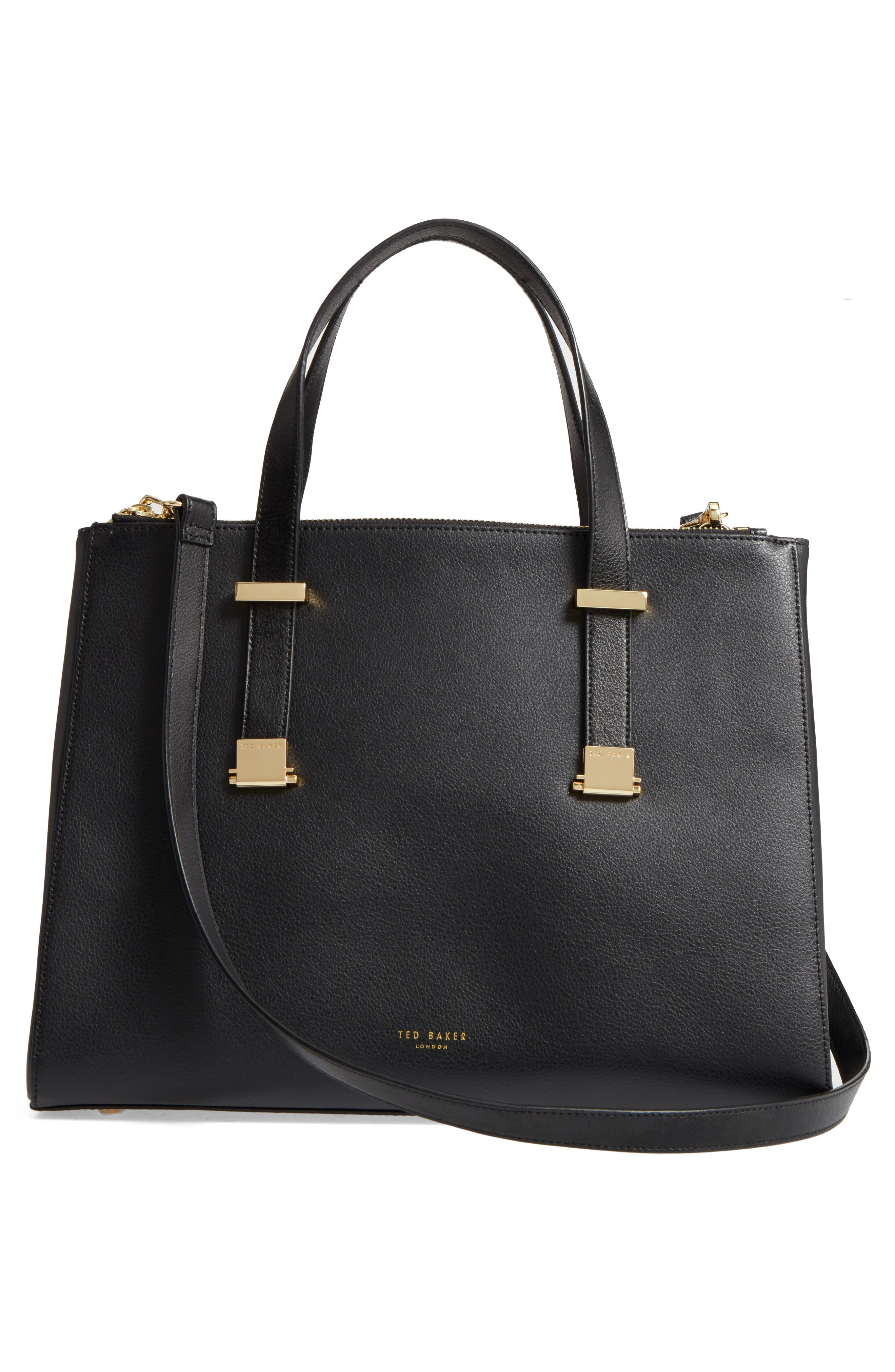 Large Alunaa Convertible Leather Tote,                             Alternate thumbnail 3, color,                             001
