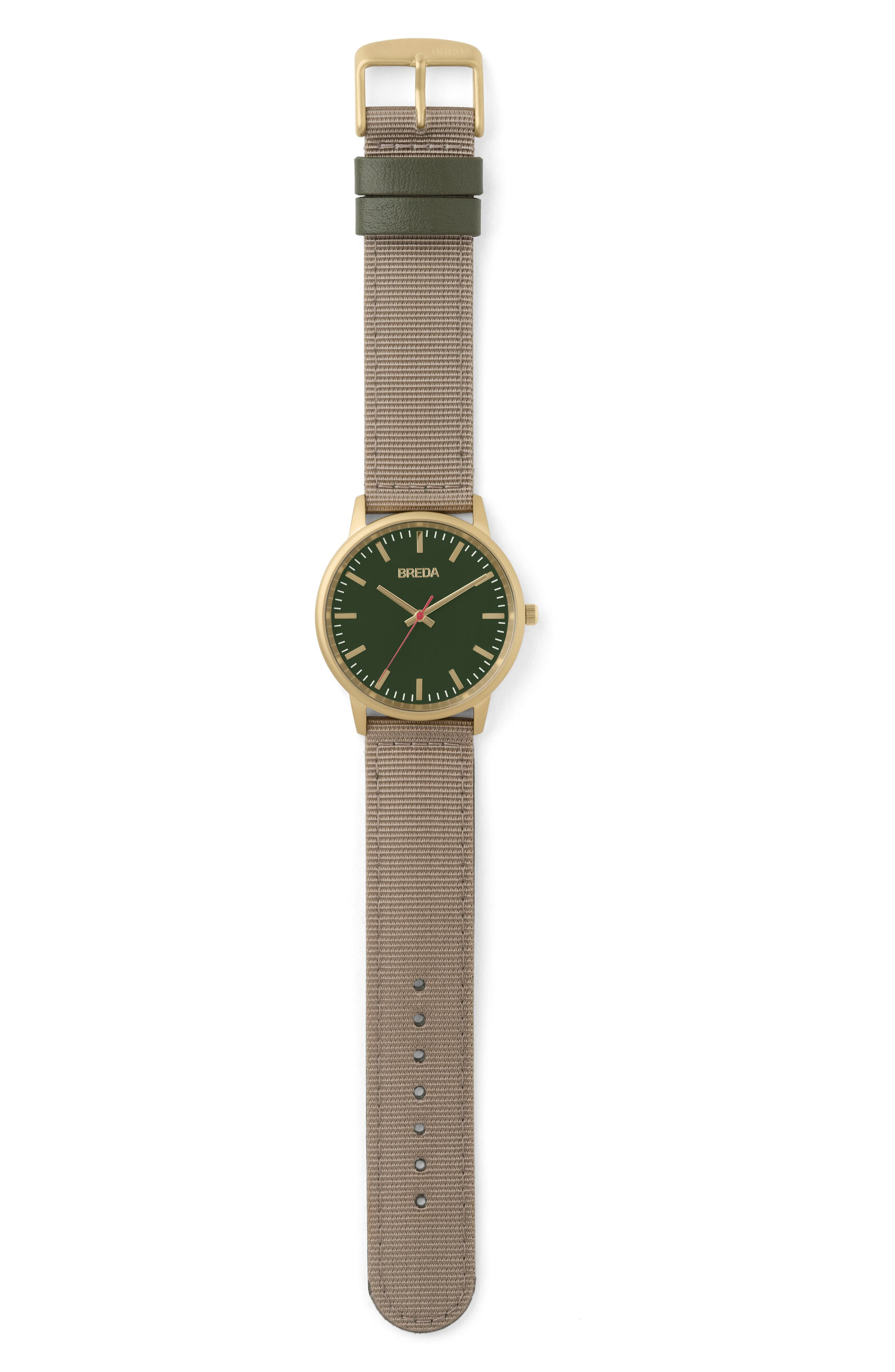 Valor Nylon Strap Watch, 39mm,                             Alternate thumbnail 2, color,                             BEIGE/ GREEN/ GOLD