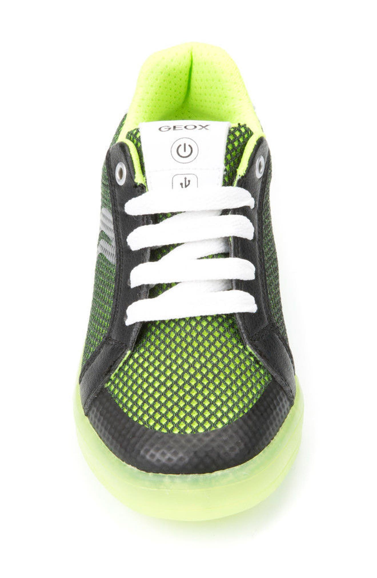 Kommodor Light-Up Mesh Sneaker,                             Alternate thumbnail 4, color,                             BLACK/ LIME