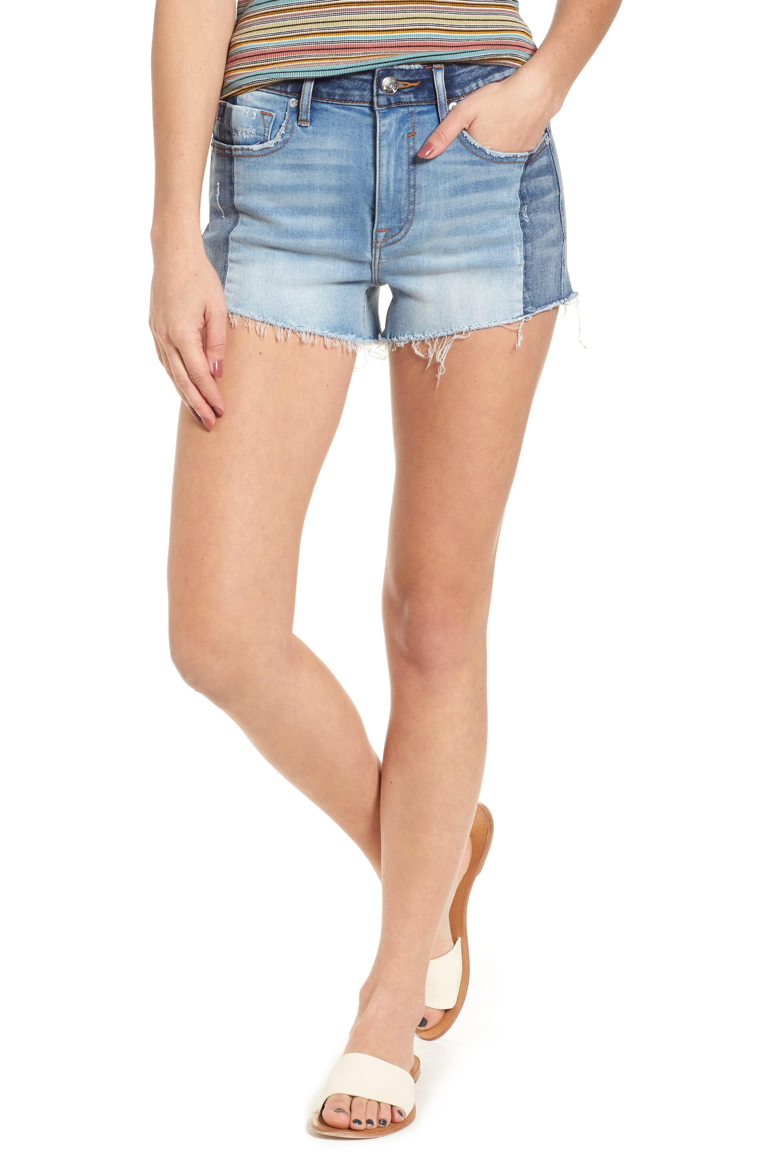 Colorblock Denim Shorts,                         Main,                         color, 426