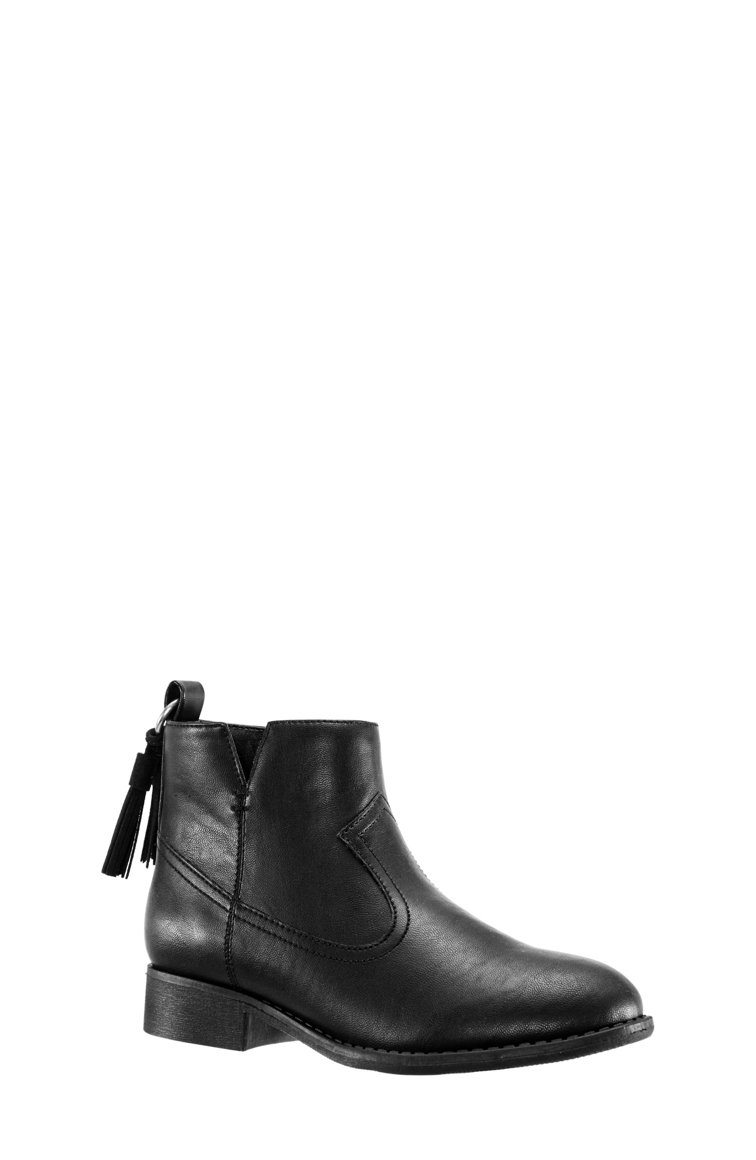Emerie Block Heel Bootie,                         Main,                         color, BLACK SMOOTH