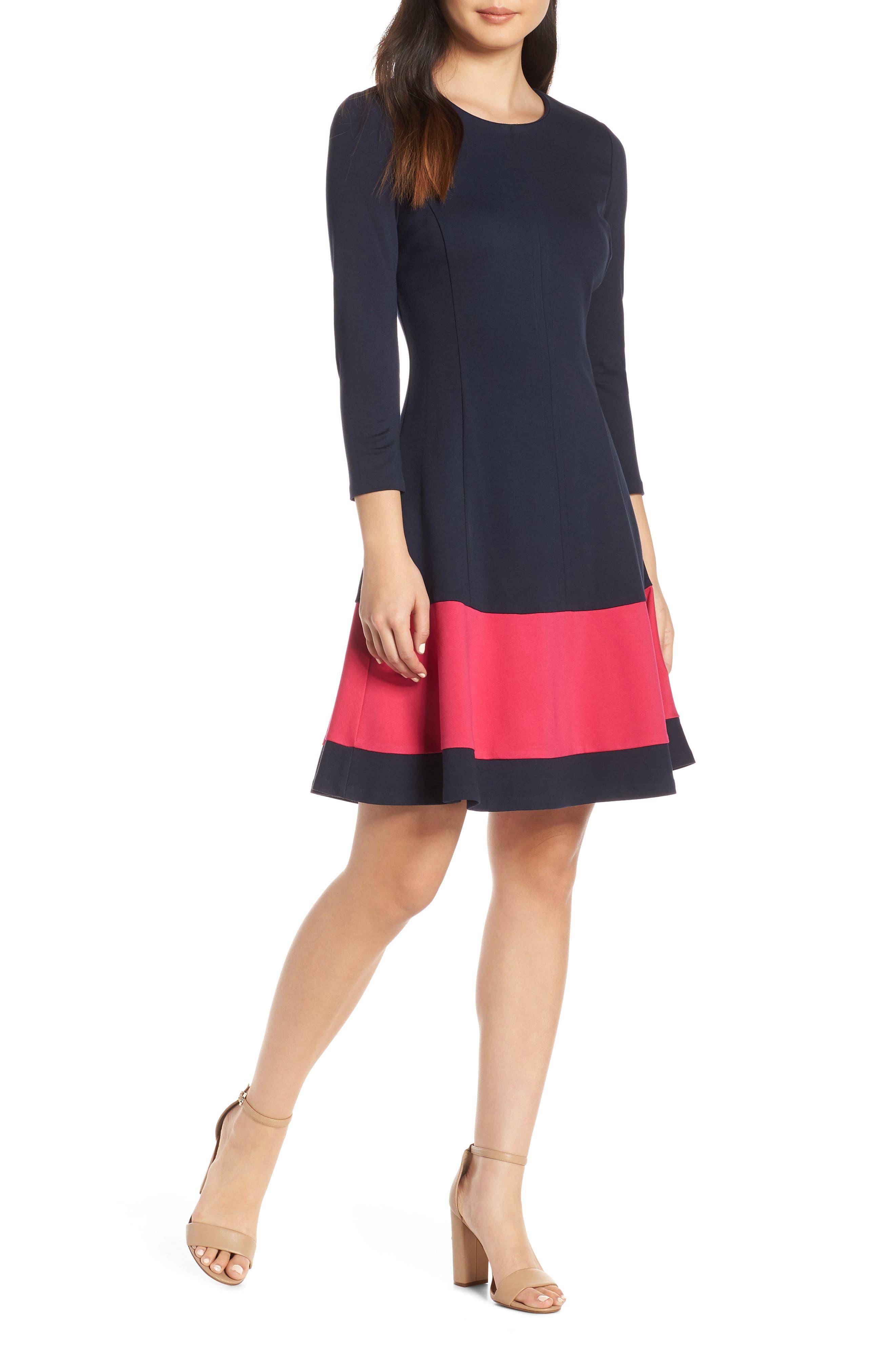Eliza J Colorblock Stripe Fit & Flare Dress