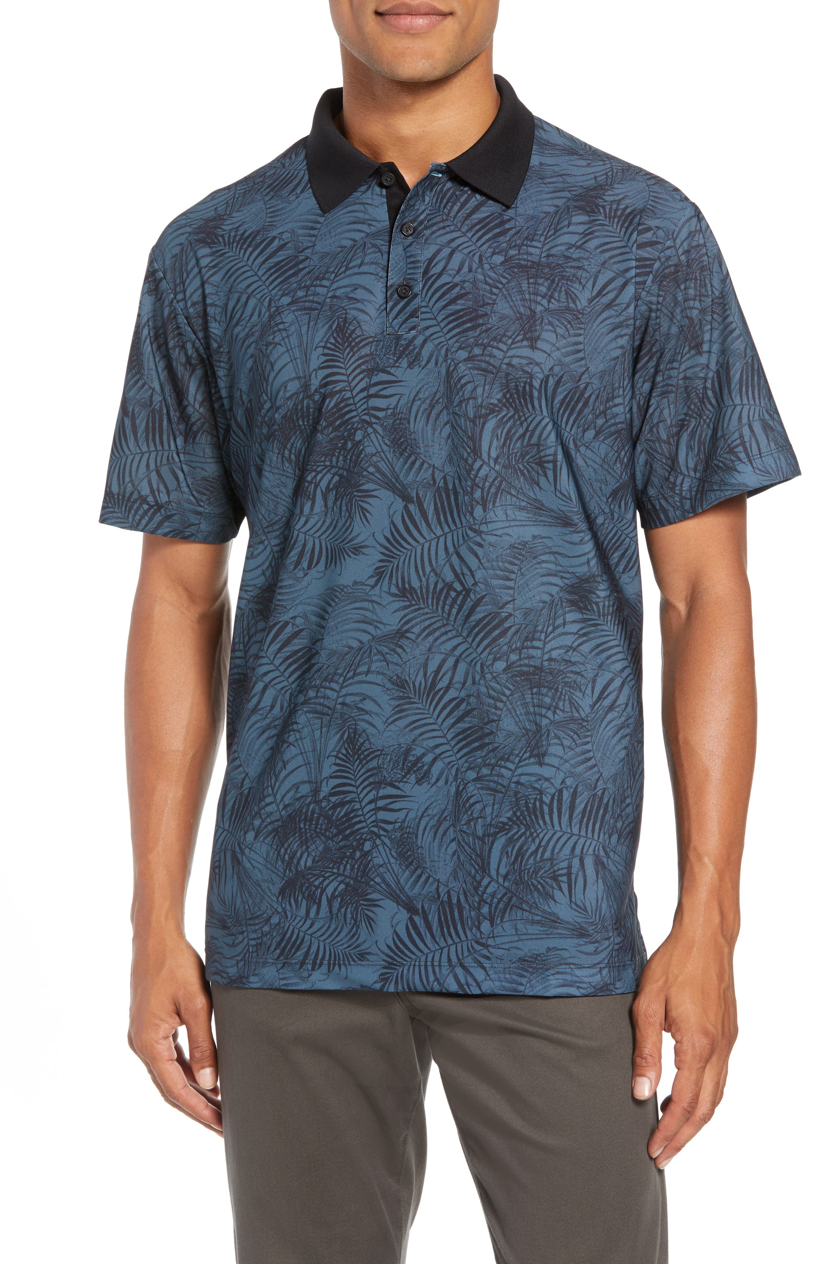 Canopy Regular Fit Palm Print Jersey Polo,                         Main,                         color, SMOKE BLUE