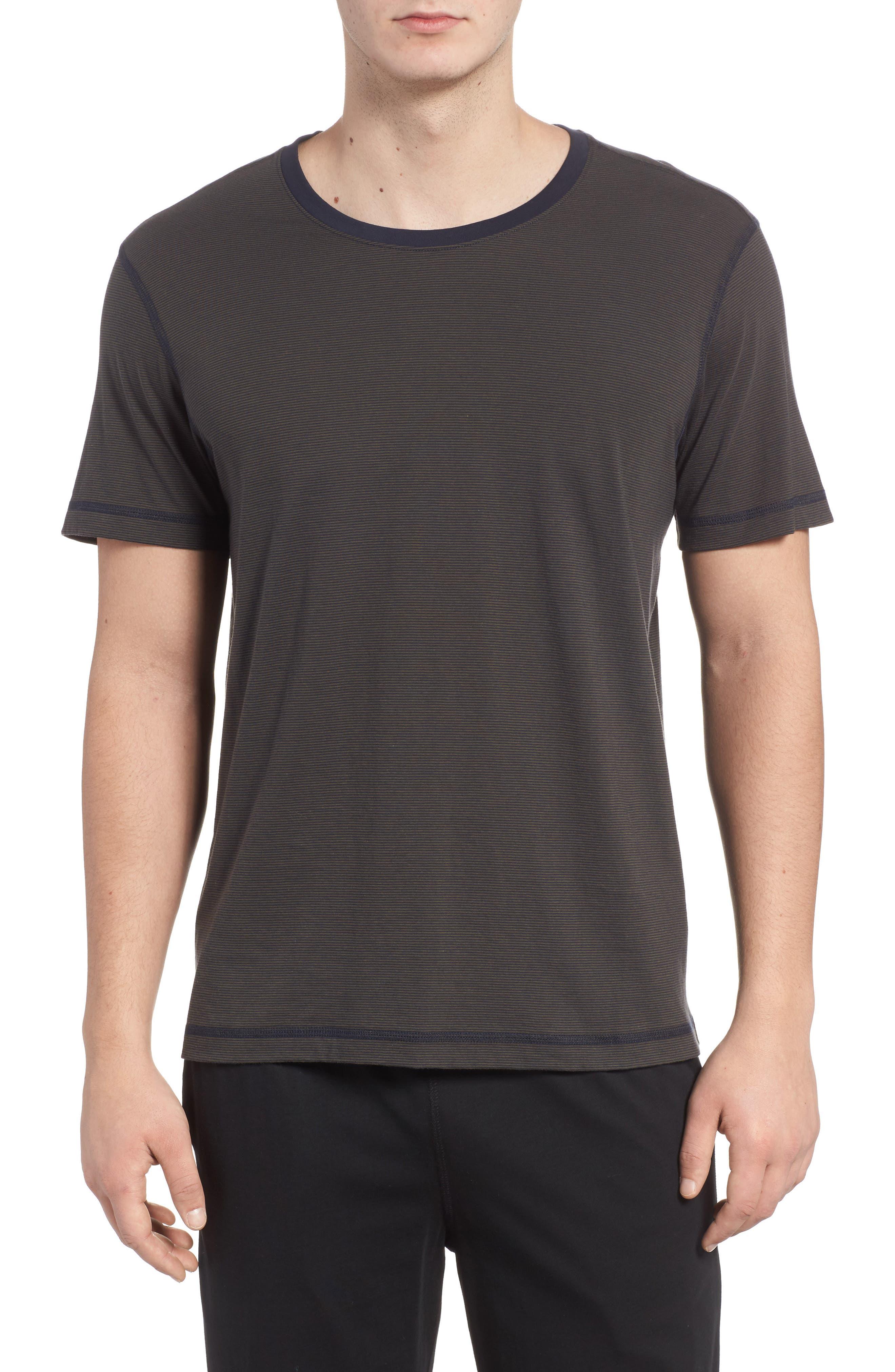 Peruvian Pima Cotton T-Shirt,                             Main thumbnail 1, color,                             ARMY/ MIDNIGHT STRIPE