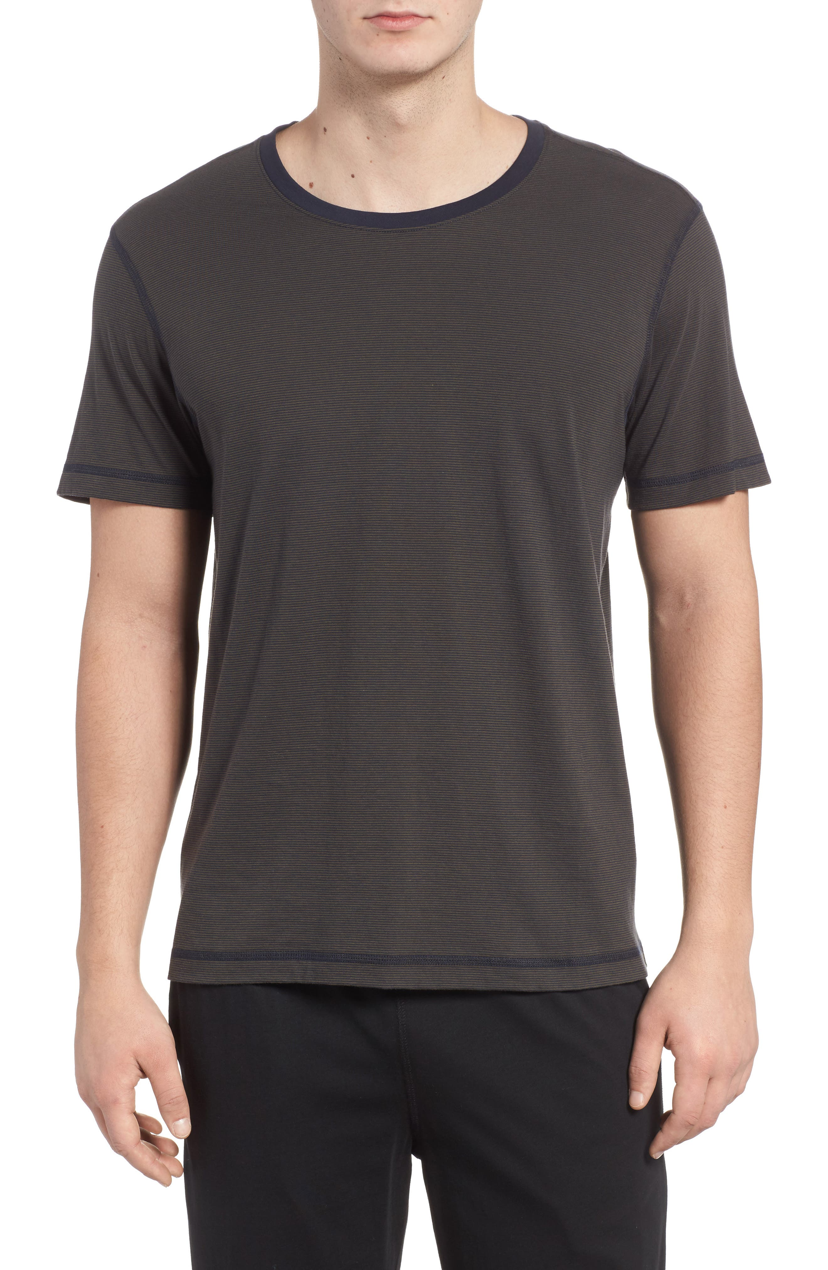 Peruvian Pima Cotton T-Shirt,                         Main,                         color, ARMY/ MIDNIGHT STRIPE